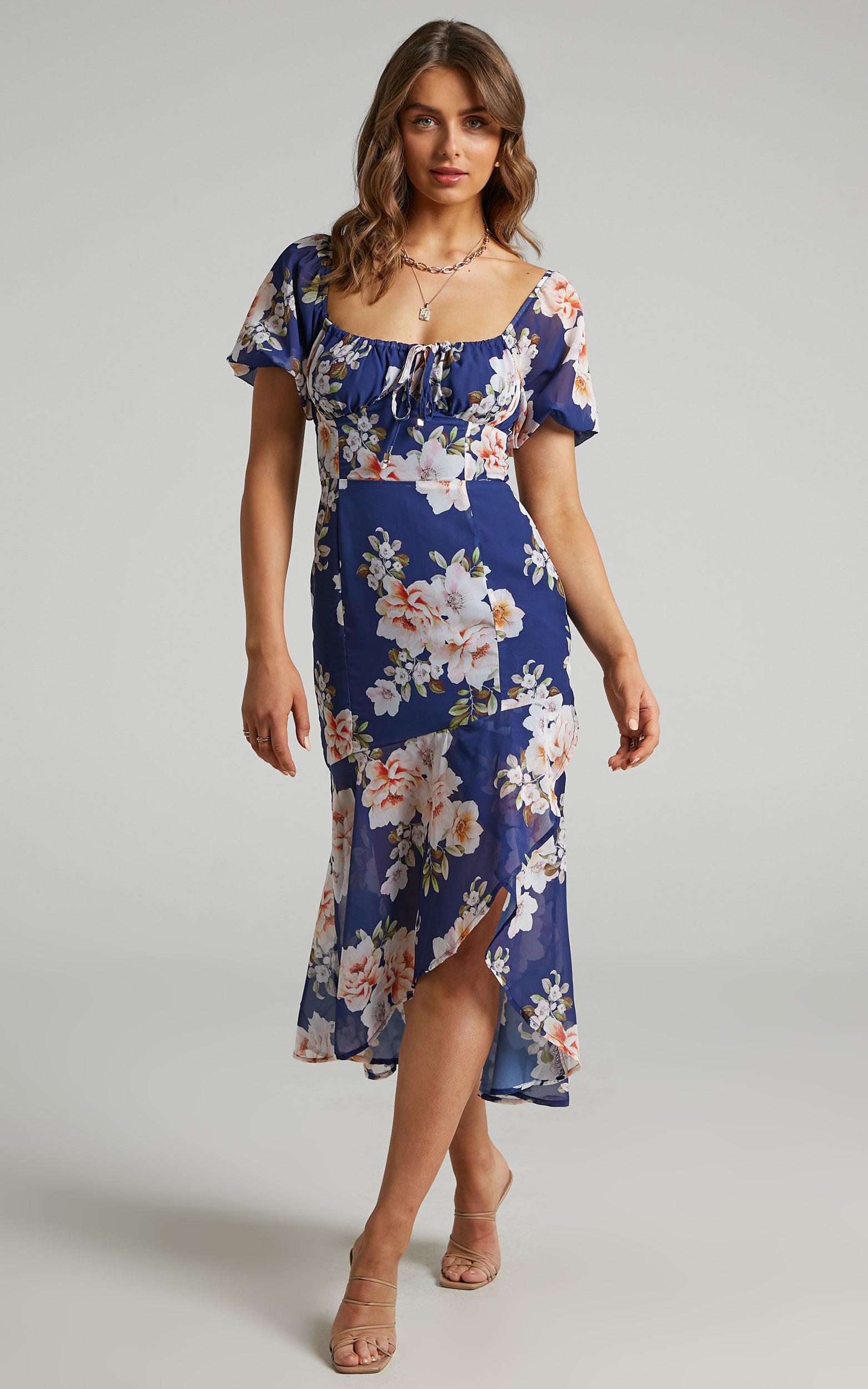 Jasalina Dress in Royal Floral - 06, NVY4, hi-res image number null