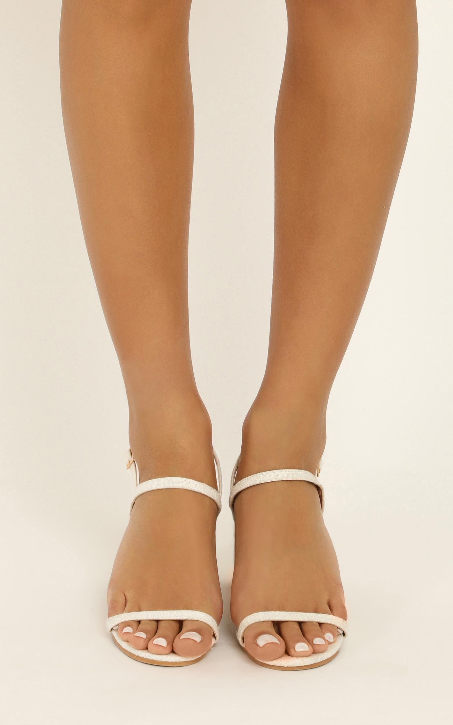 Showpo X Billini - Flores heels in white linen - 10, White, hi-res image number null