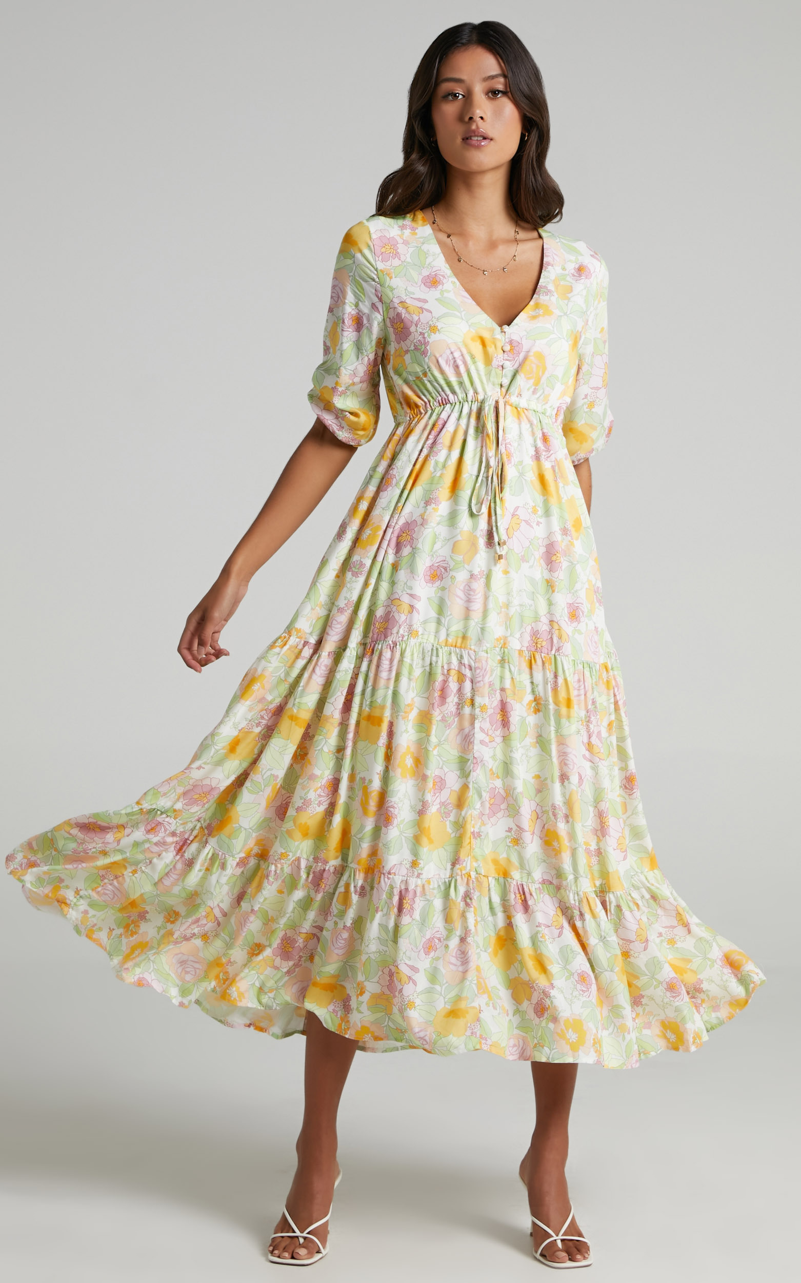 Lilibelle Dress in Linear Floral - 06, WHT2, hi-res image number null