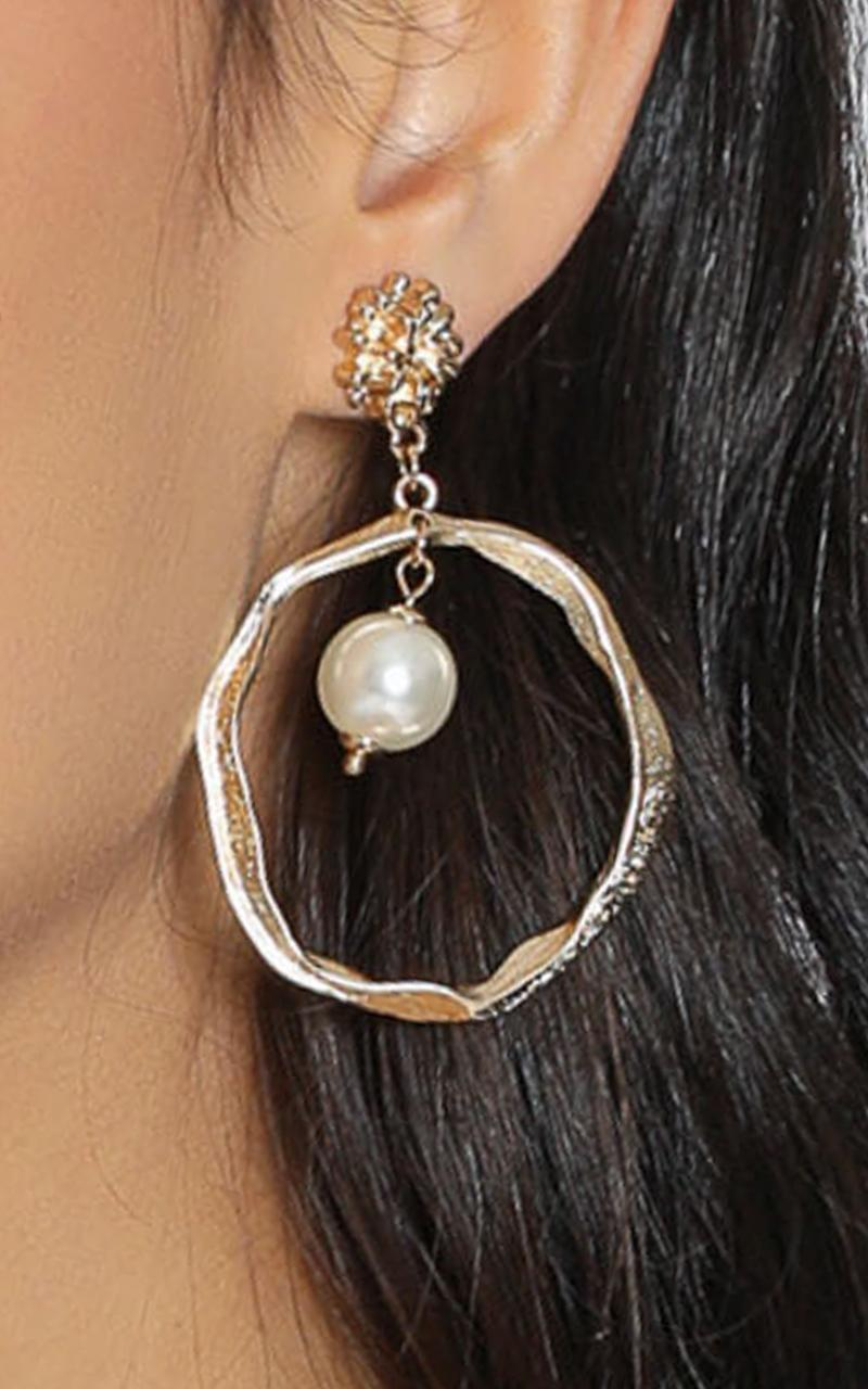 JT Luxe - Eternal Allure Drop Pearl Earrings in Gold, , hi-res image number null