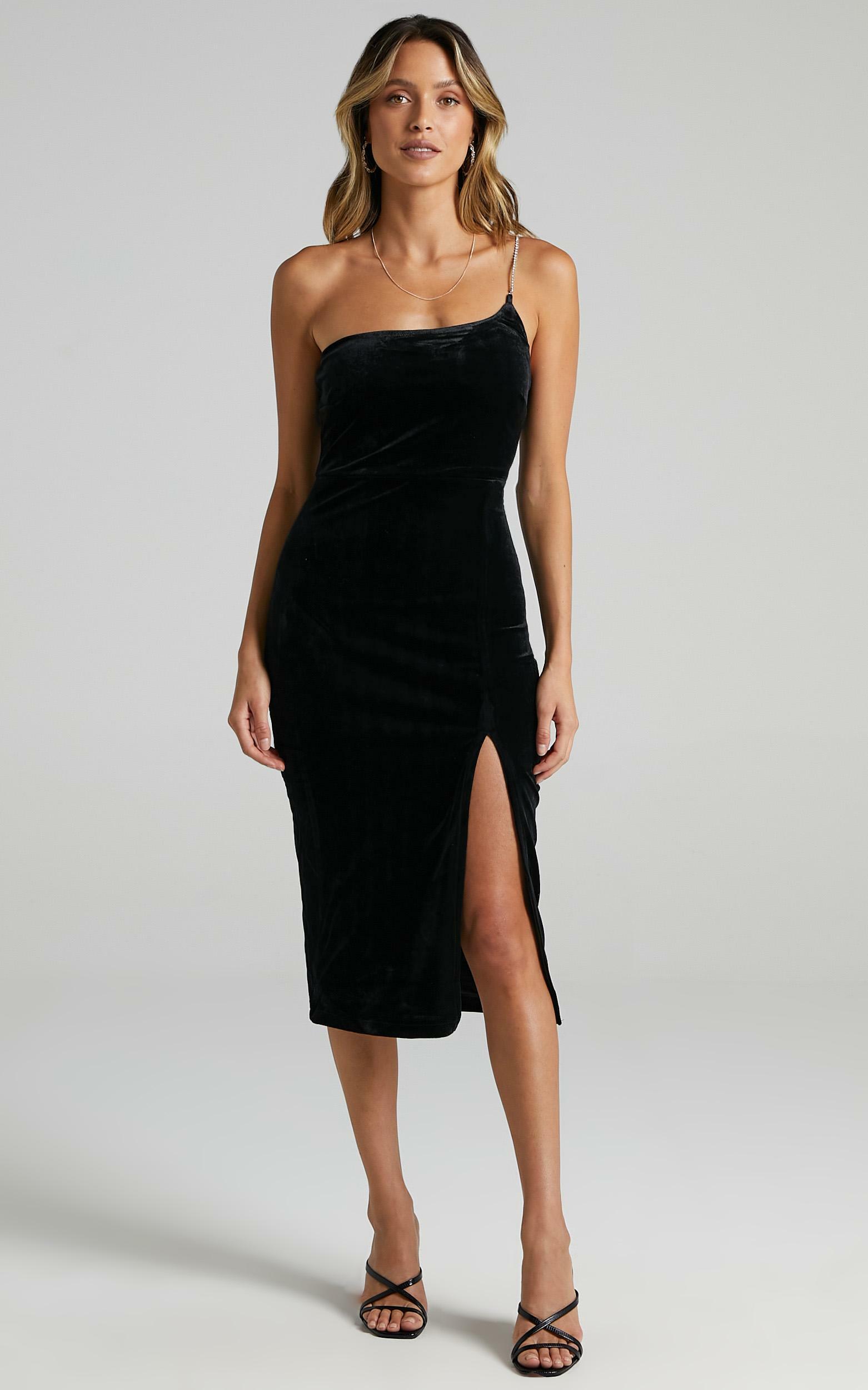 Deni Diamante Strap Midi Dress in black velvet - 4 (XXS), Black, hi-res image number null