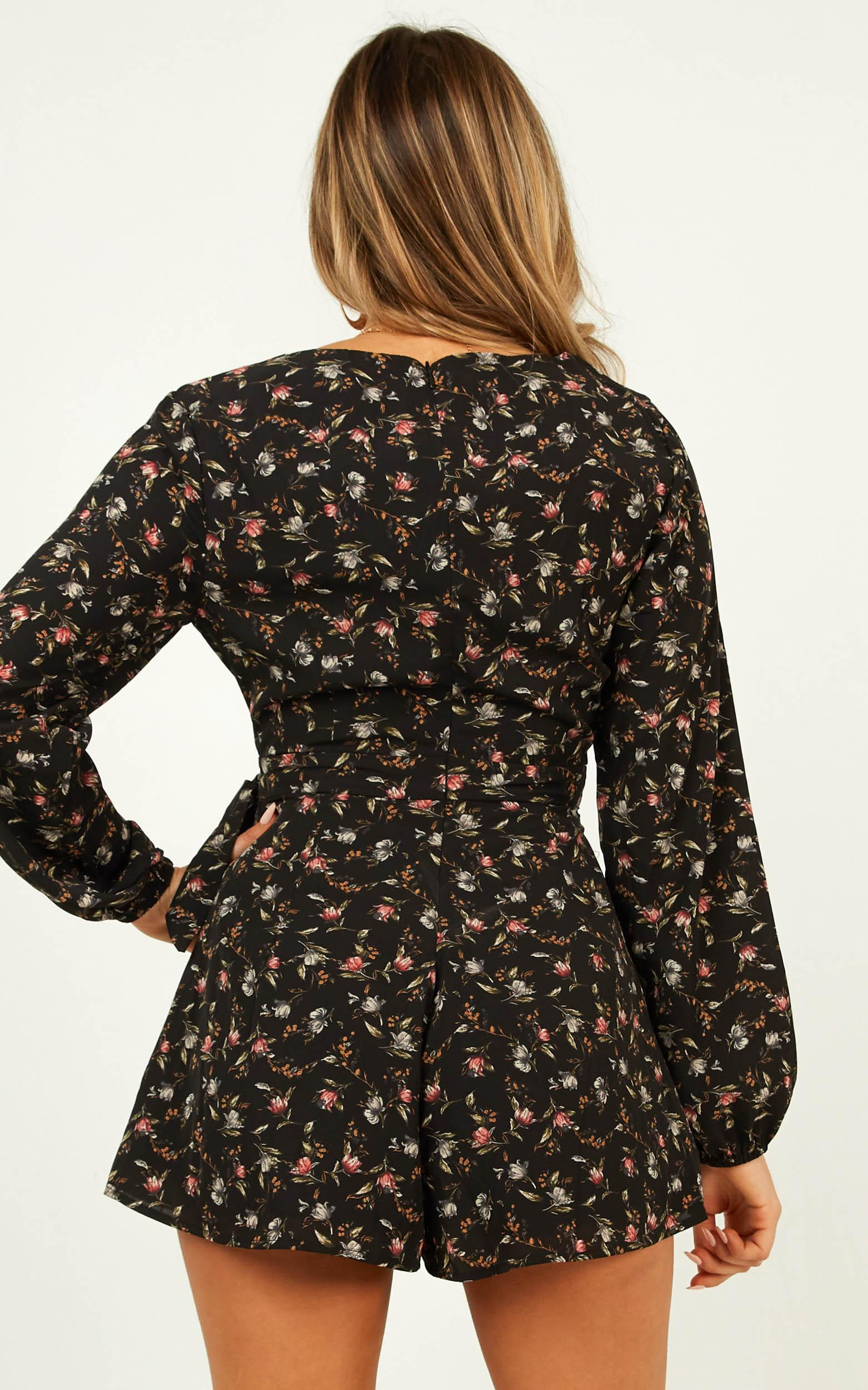 Cute Girl Playsuit in black floral - 20 (XXXXL), Black, hi-res image number null