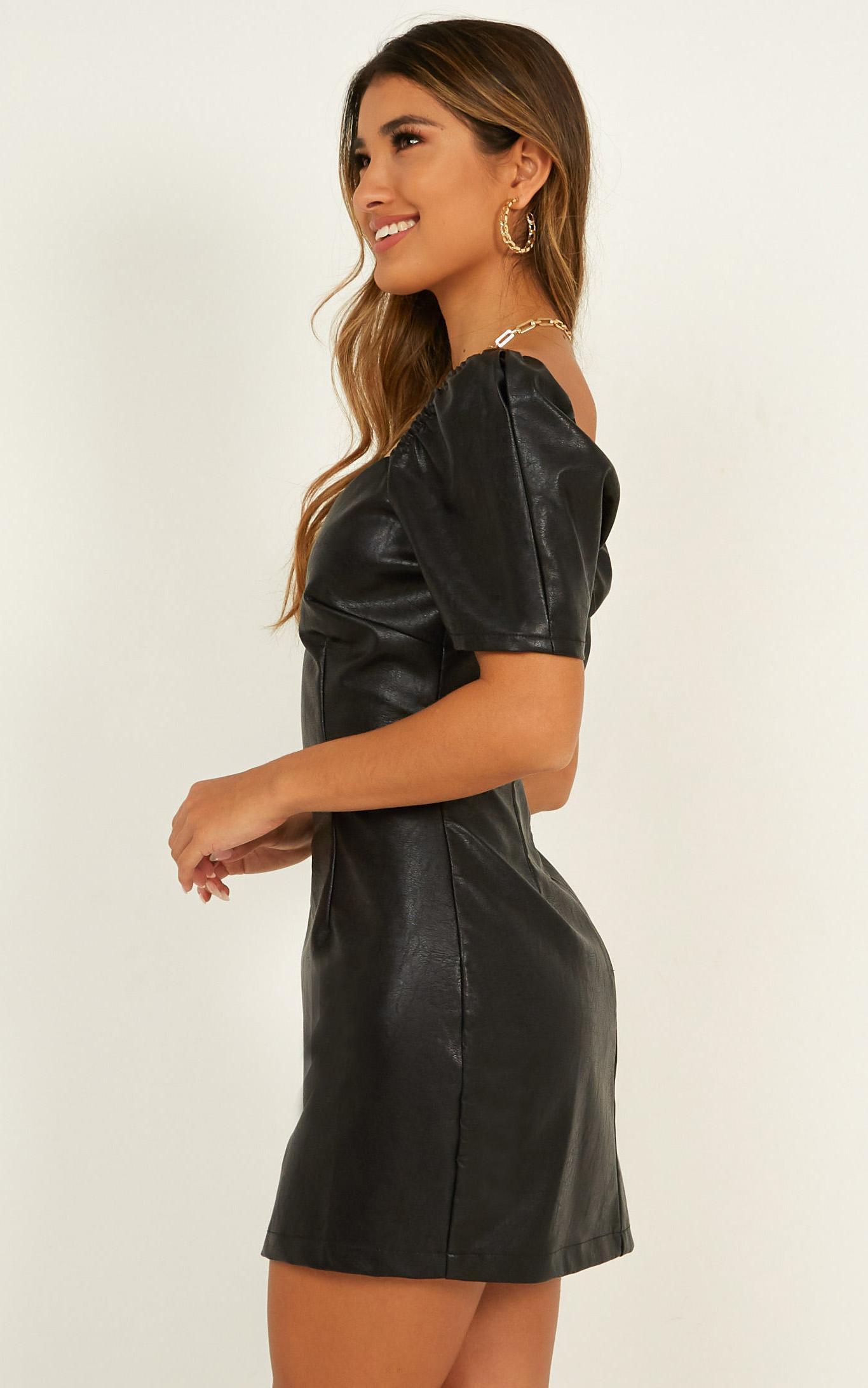 Love is gone dress in black leatherette - 14 (XL), Black, hi-res image number null