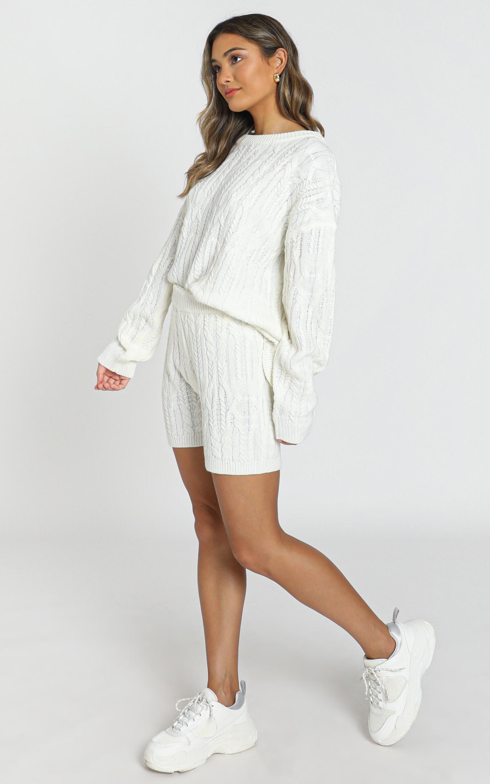 Olivia Cable Knit Two Piece Set in ivory - S, White, hi-res image number null