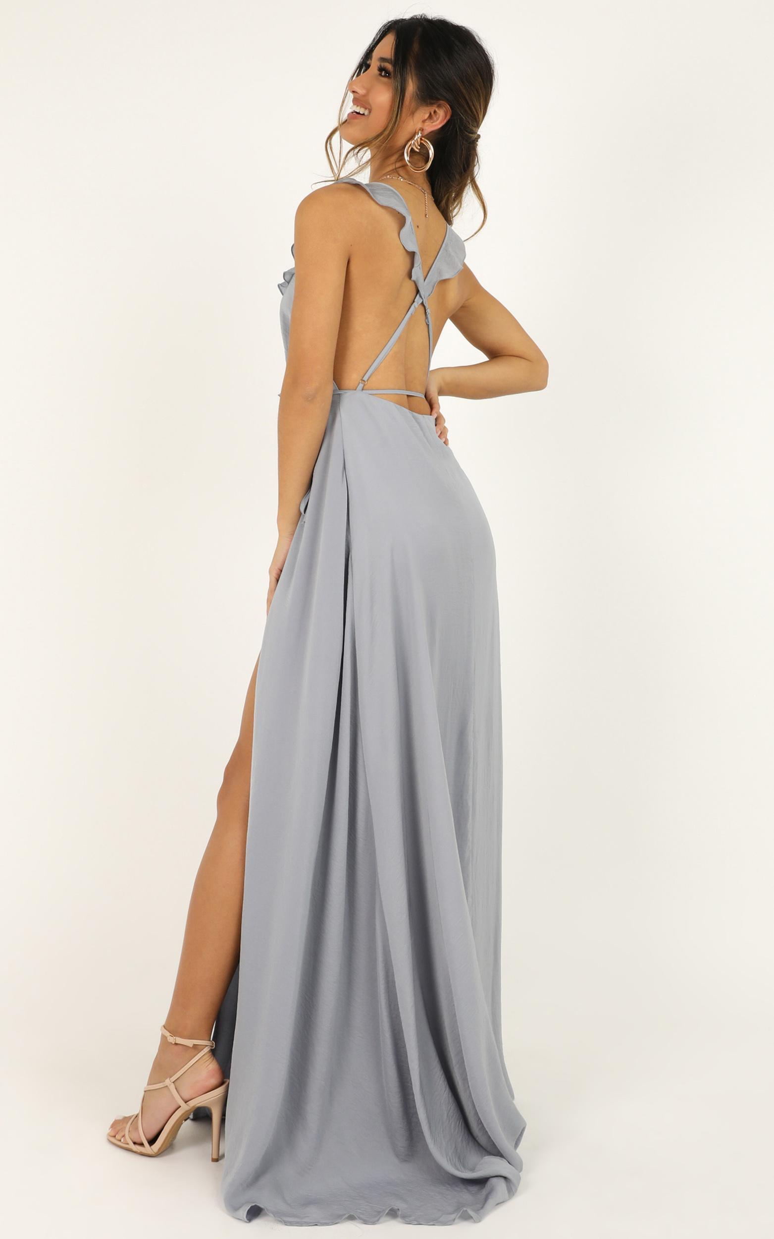 Losing My Edge Dress in dove blue satin - 20 (XXXXL), Blue, hi-res image number null