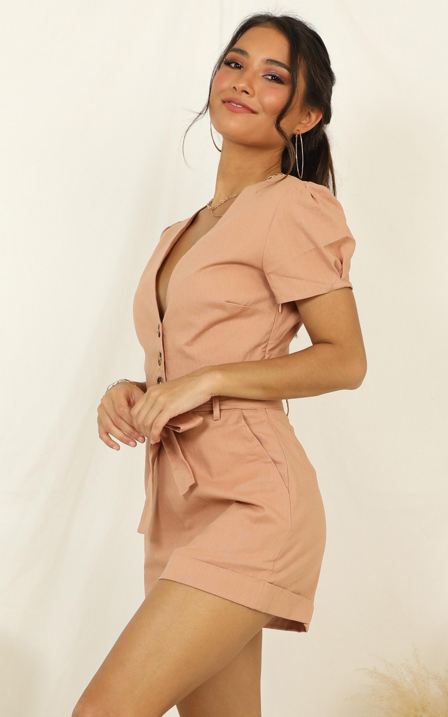 Caught In The Act Playsuit in mocha linen look - 20 (XXXXL), Mocha, hi-res image number null