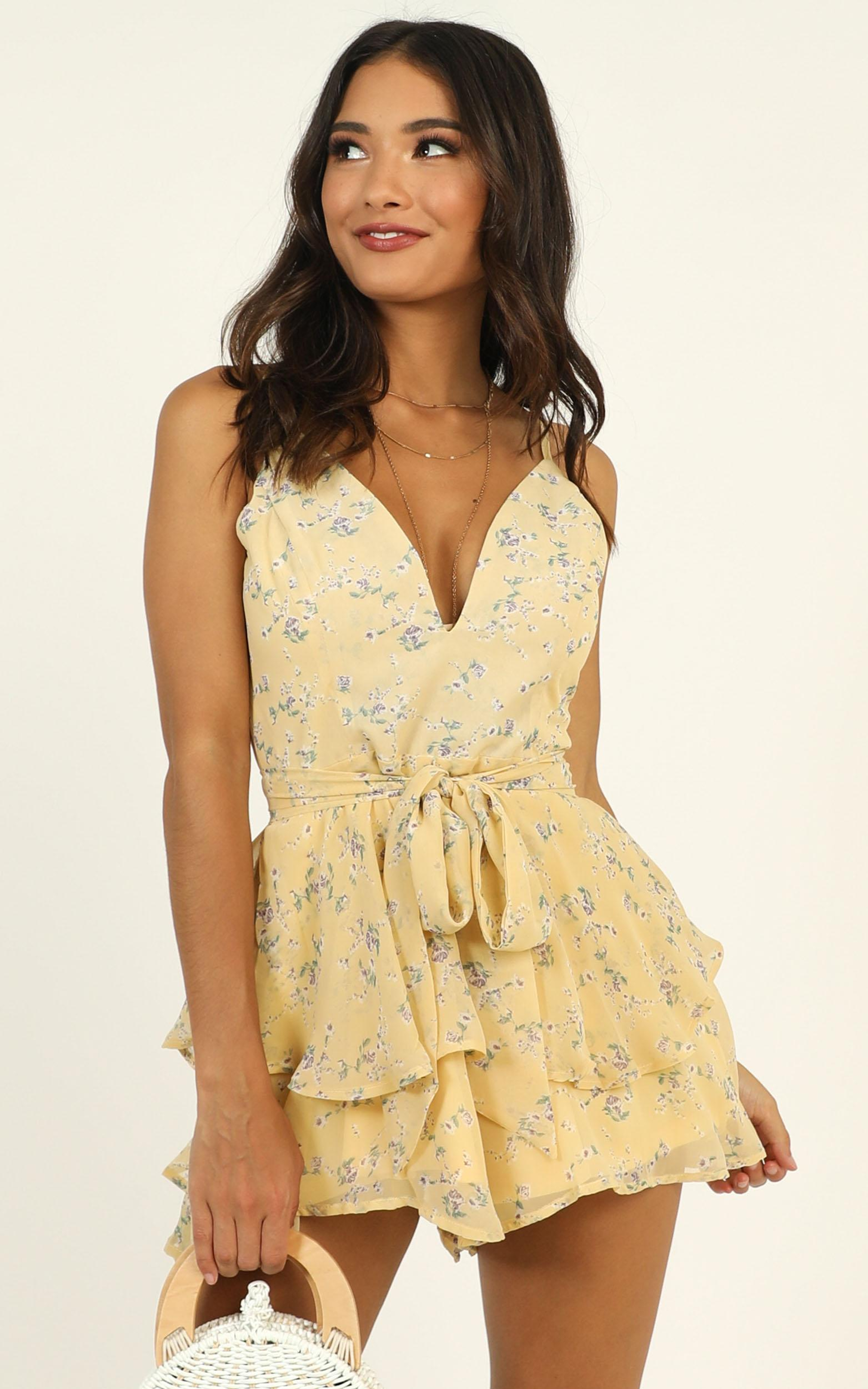Summer Breeze Playsuit in yellow floral - 12 (L), YEL1, hi-res image number null