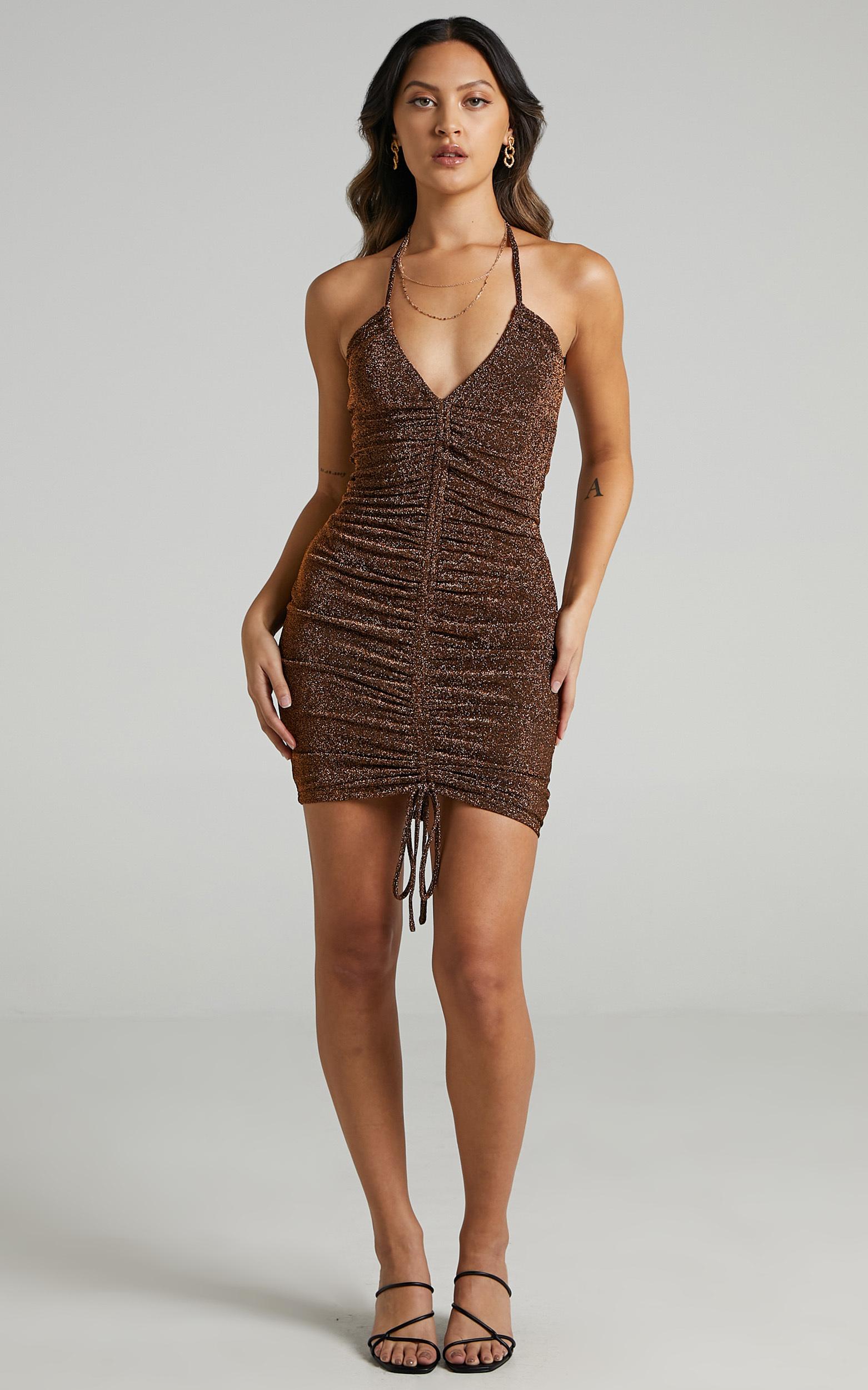 Carissa Ruched Mini Dress in Copper Lurex - 06, BRN2, hi-res image number null