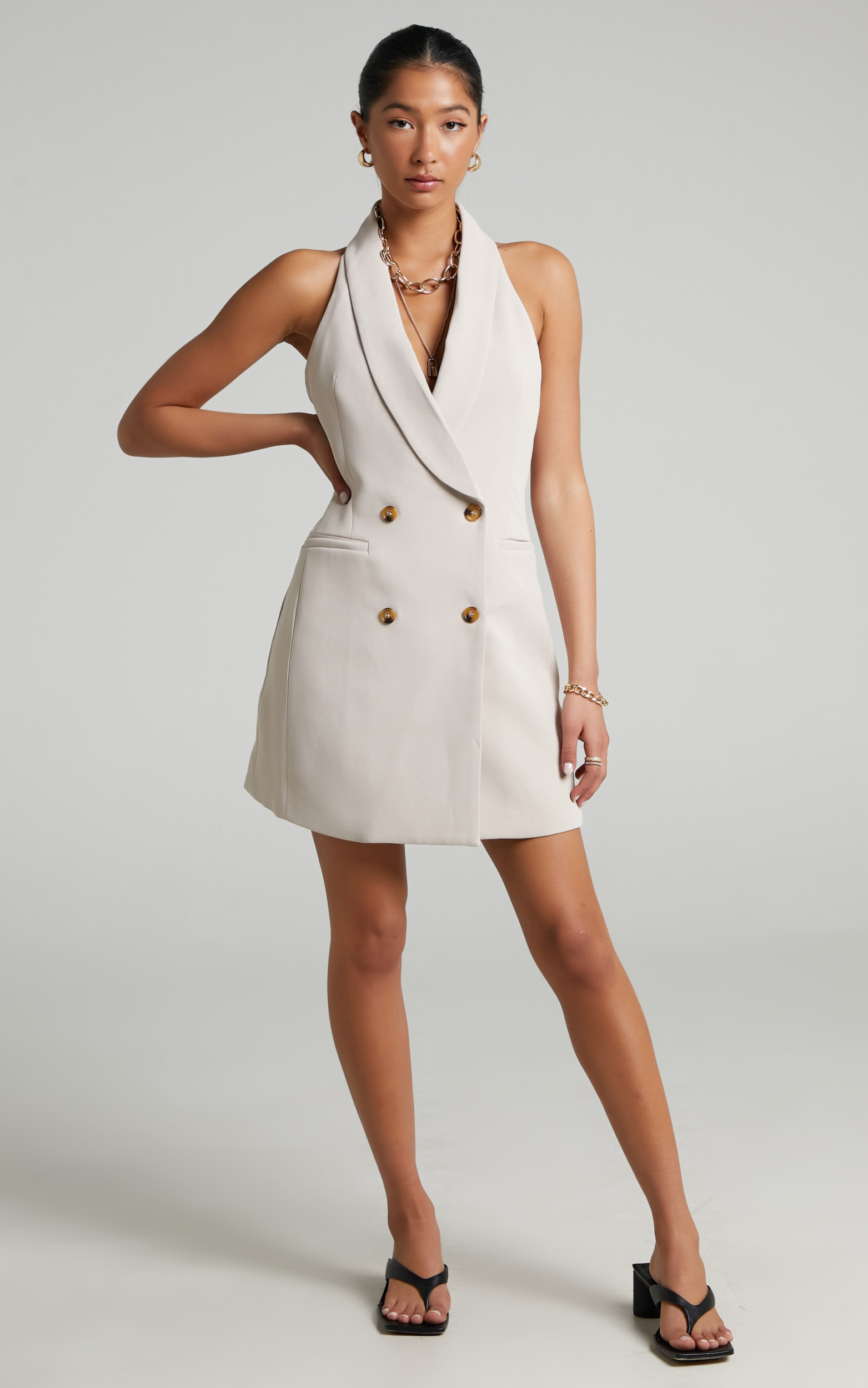 Kenny Waistcoat Mini Dress with Open Back in Light Camel - 04, BRN1, hi-res image number null