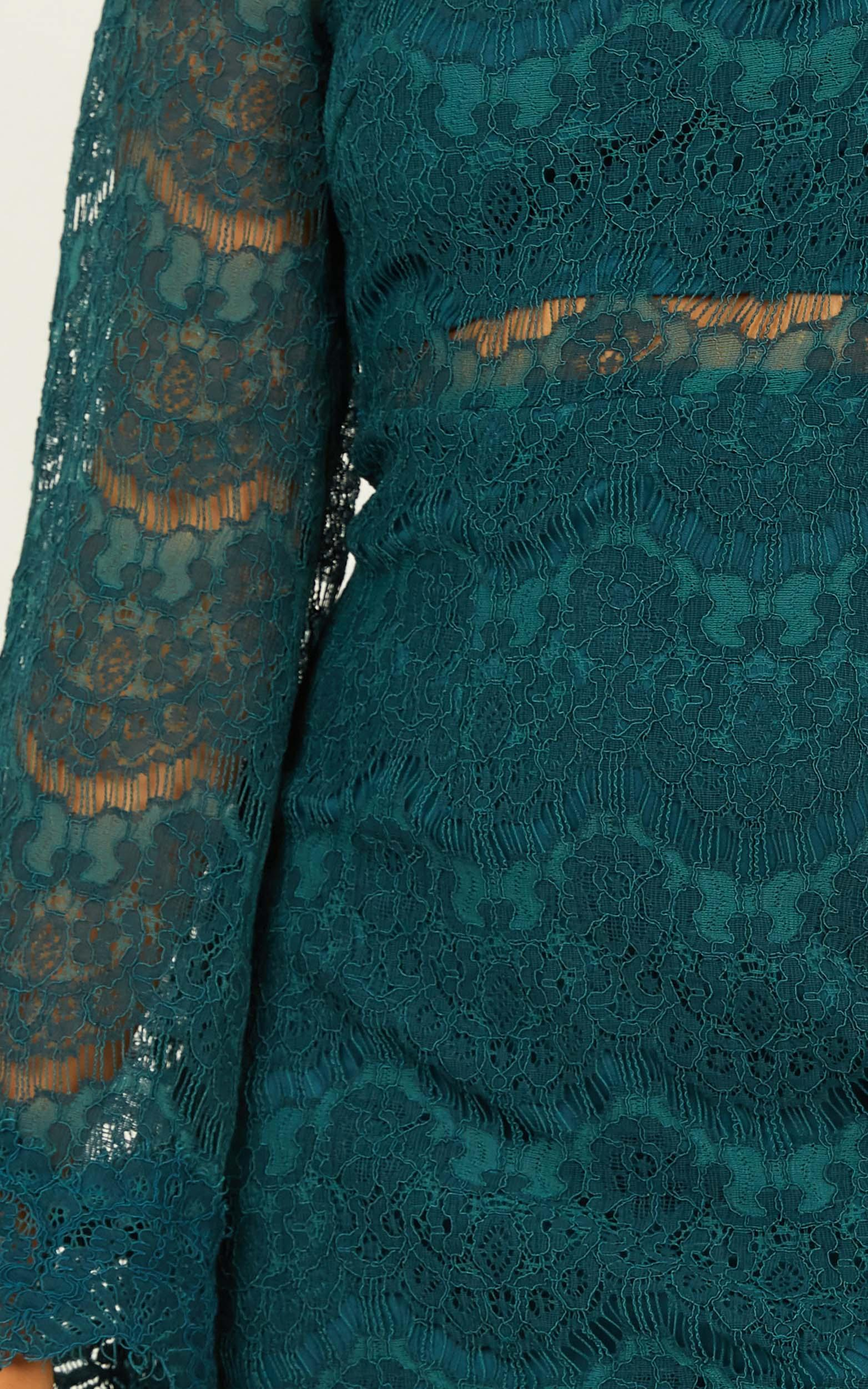 Never Start Dress in teal lace - 6 (XS), Green, hi-res image number null