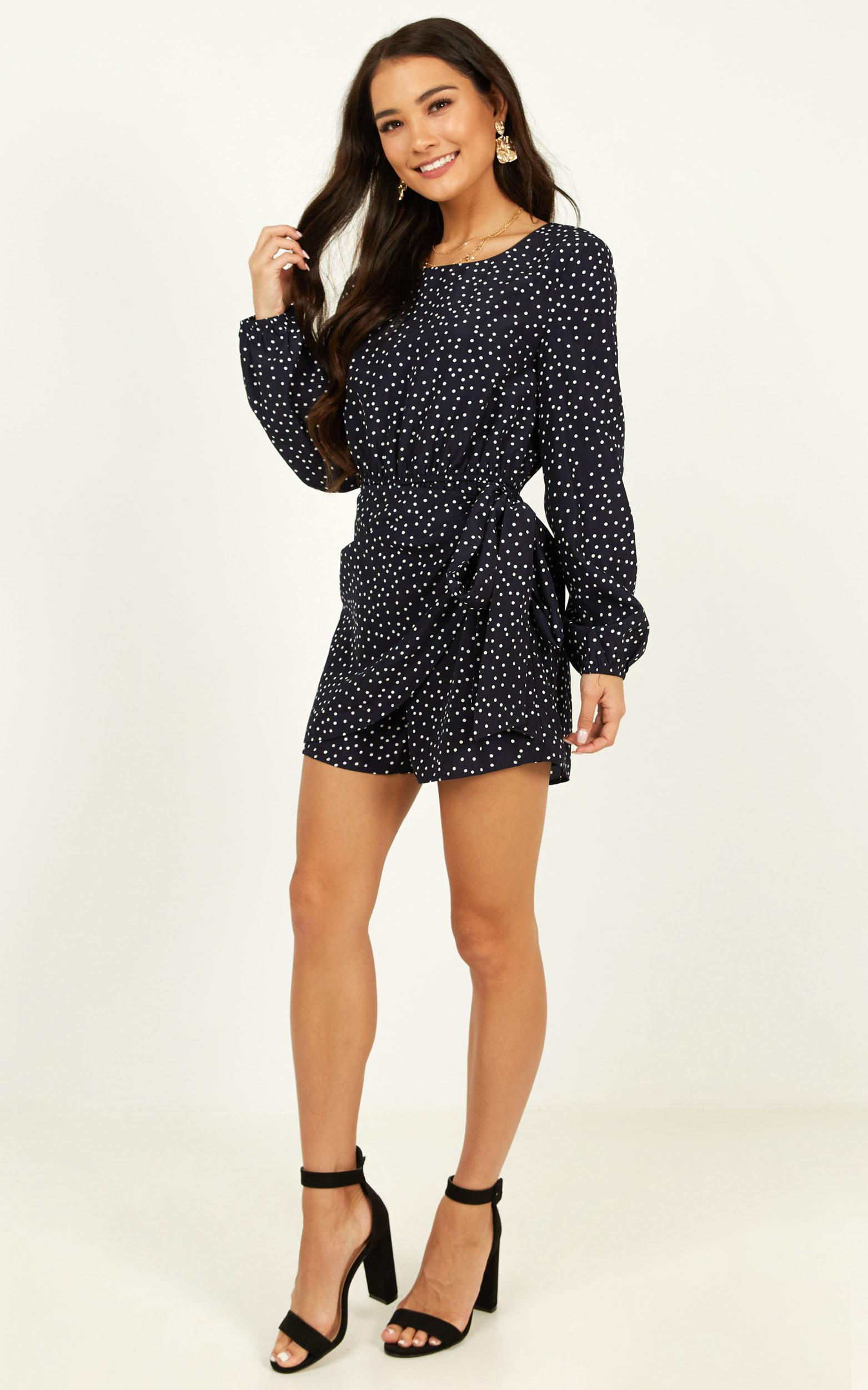 Younger Years Playsuit in navy spot - 20 (XXXXL), Navy, hi-res image number null