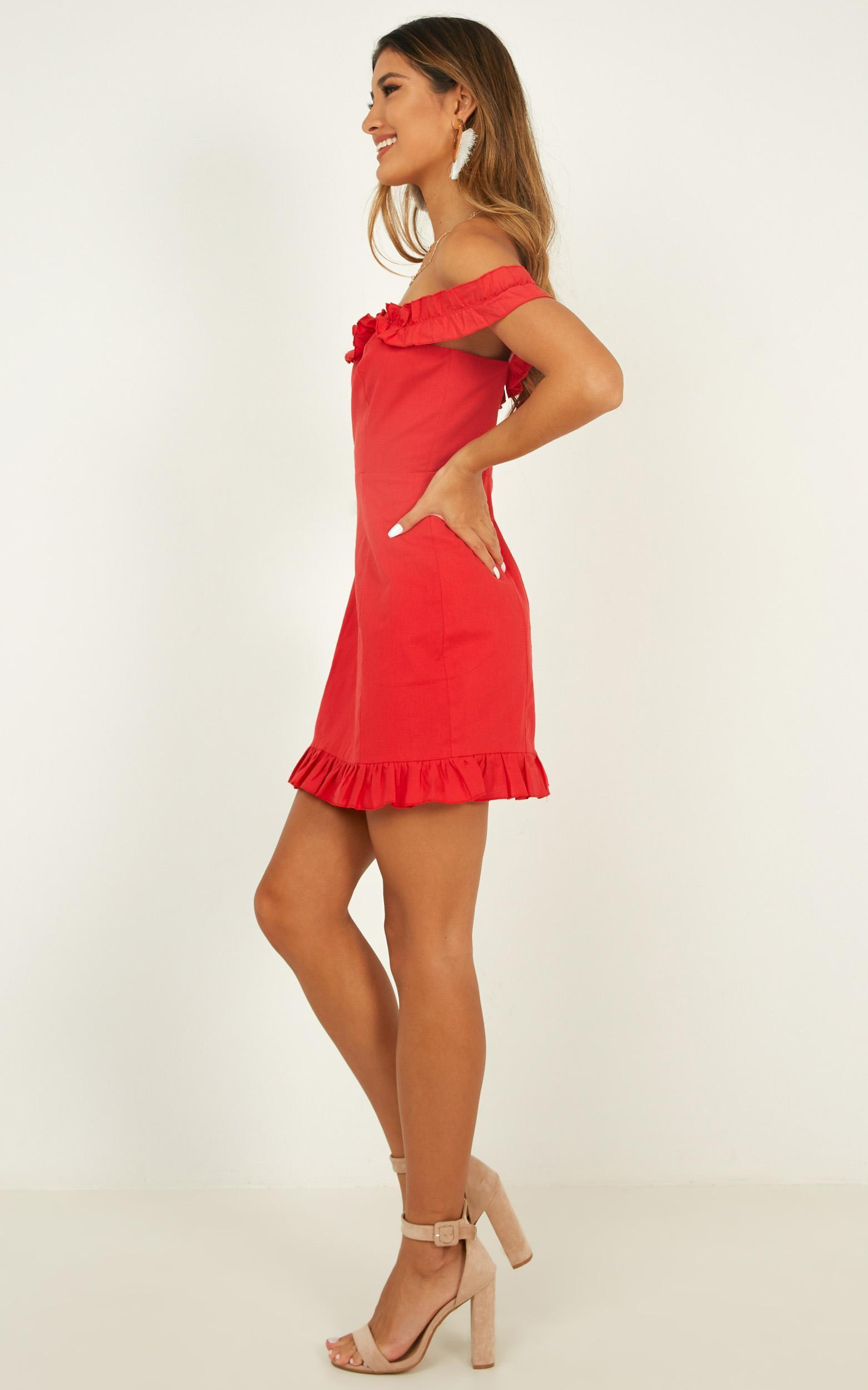Days Of Summer Dress red linen look - 6 (XS), Red, hi-res image number null