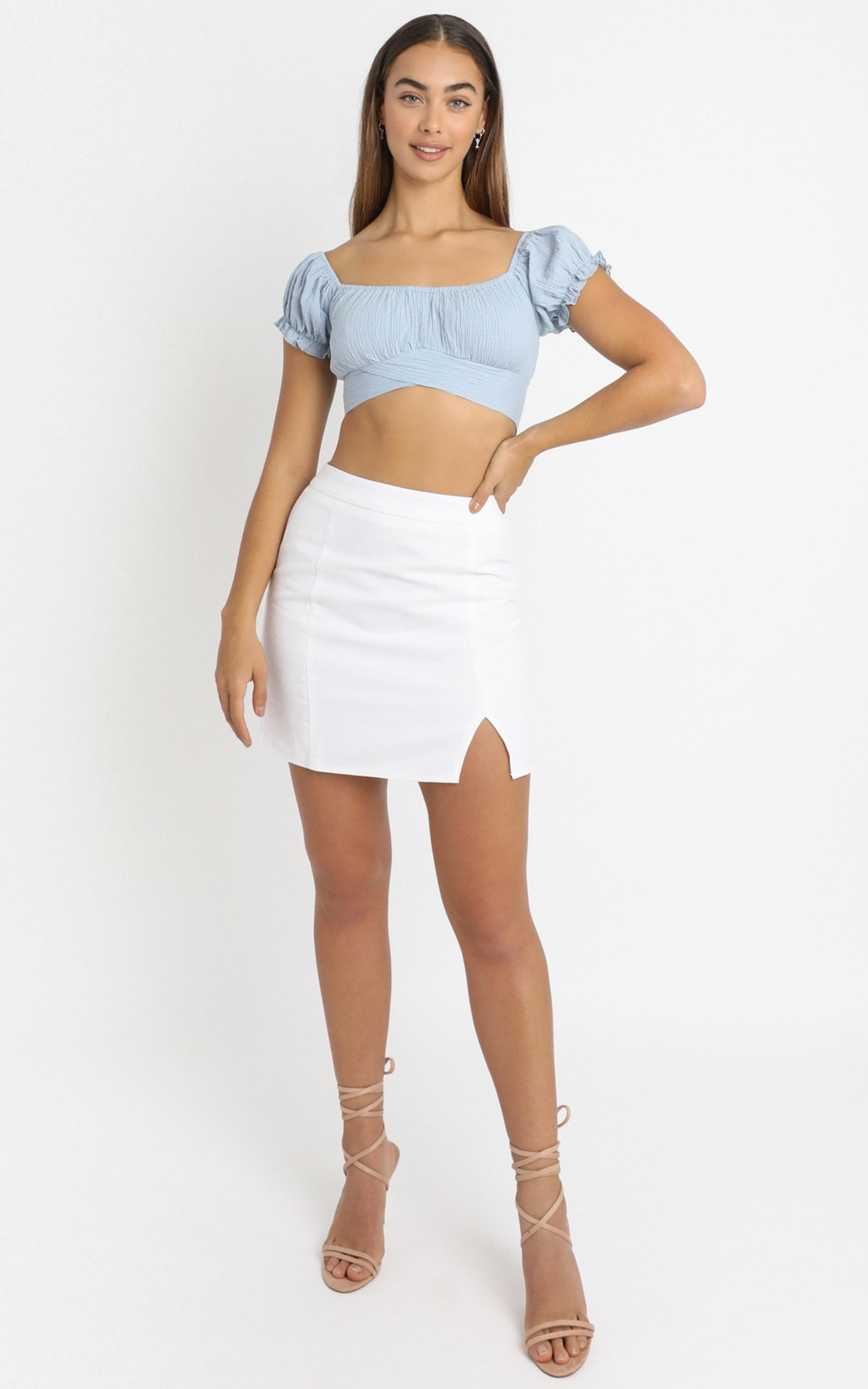 I Know You Top in sky blue linen look - 6 (XS), Blue, hi-res image number null