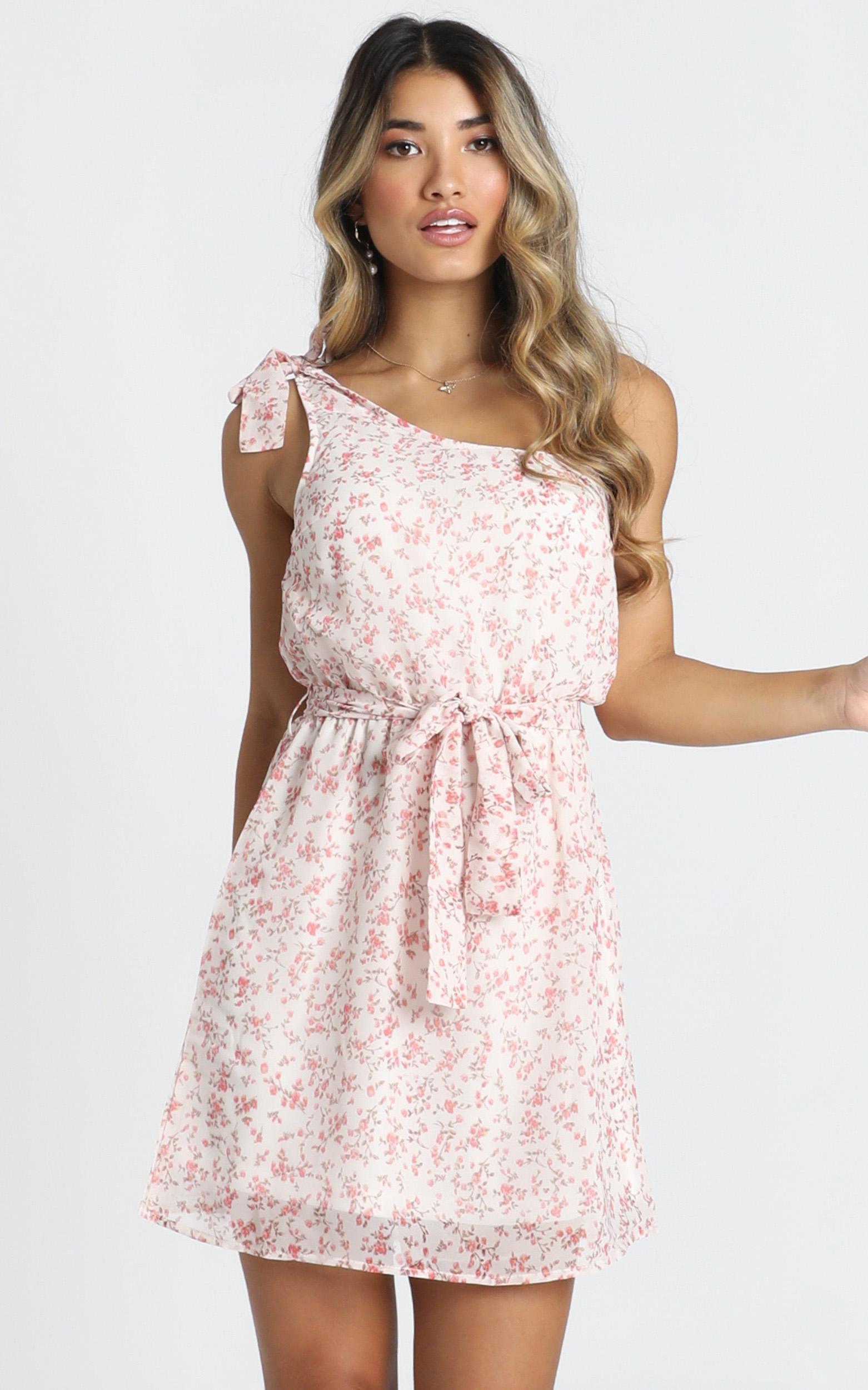Laura One Shoulder Dress in pink floral - 12 (L), Pink, hi-res image number null