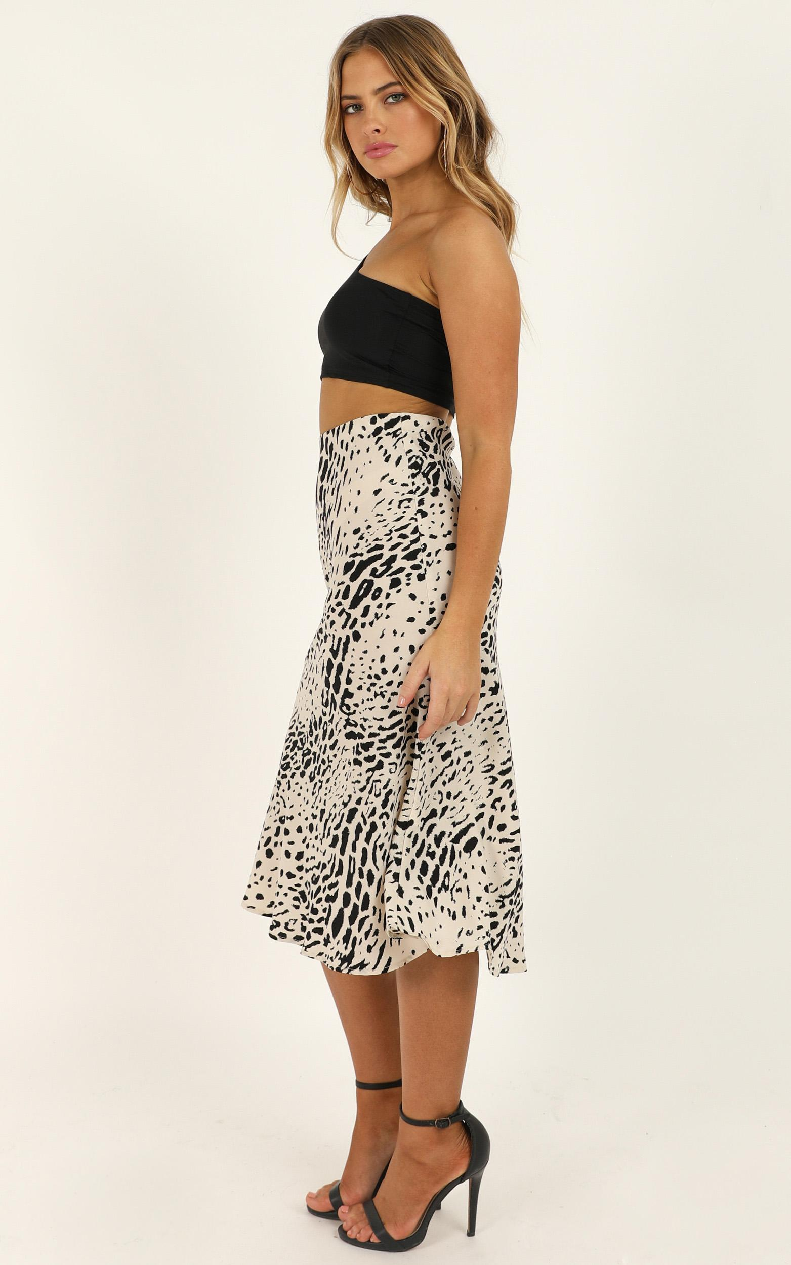 Consuming Thoughts Skirt In Leopard Print Satin - 16 (XXL), White, hi-res image number null