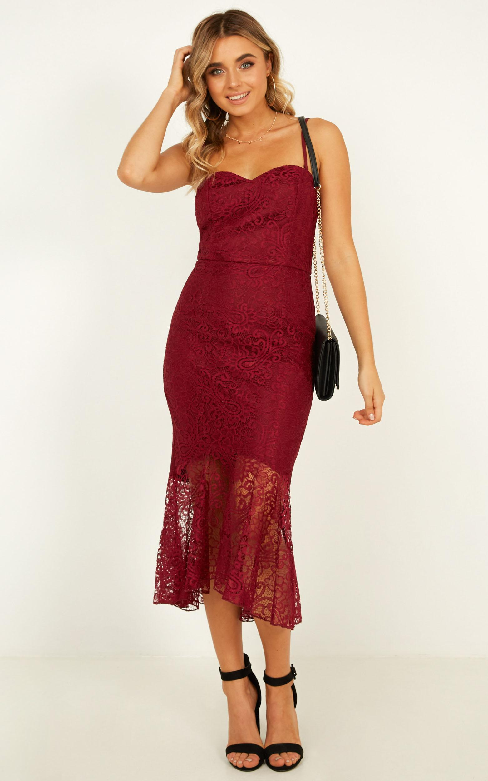 Crave Devotion Dress in wine lace - 14 (XL), Wine, hi-res image number null