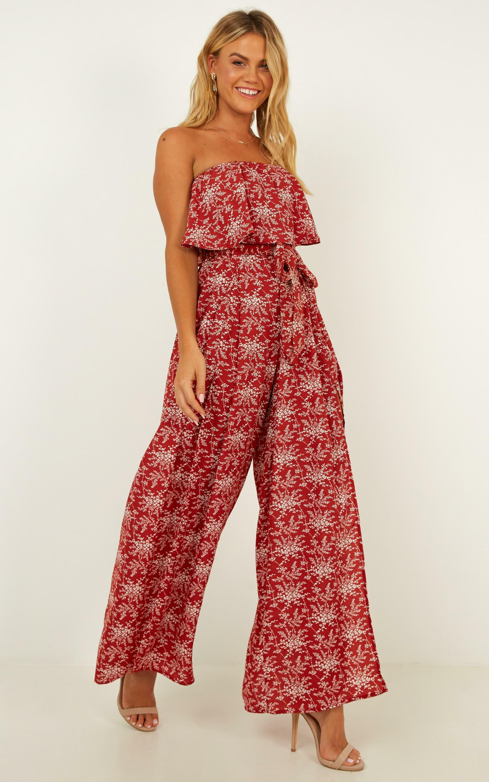 A Star is Born Jumpsuit In Rust Floral - 4 (XXS), Rust, hi-res image number null