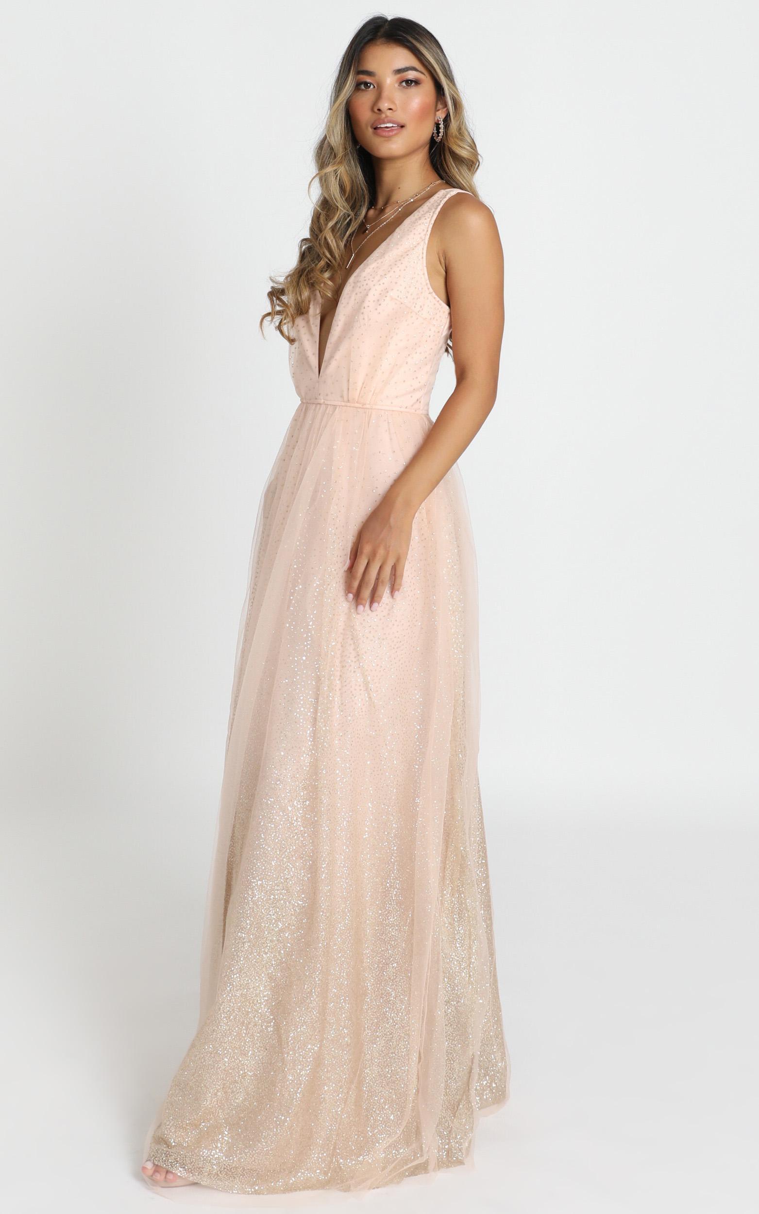 Riley maxi dress in blush glitter - 12 (L), Blush, hi-res image number null