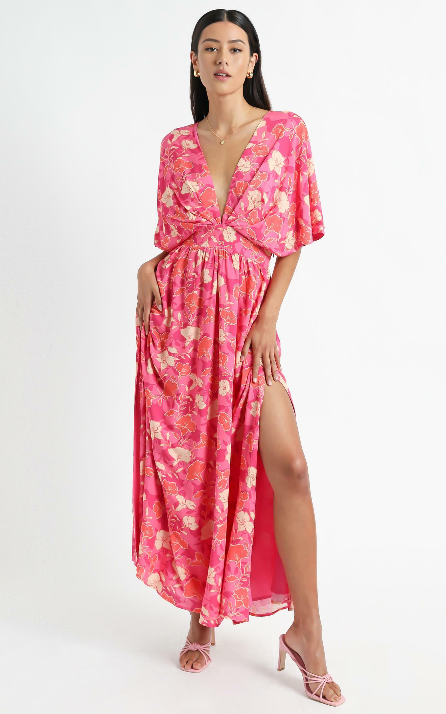 Ella Dress in Berry Floral - 4 (XXS), Pink, hi-res image number null