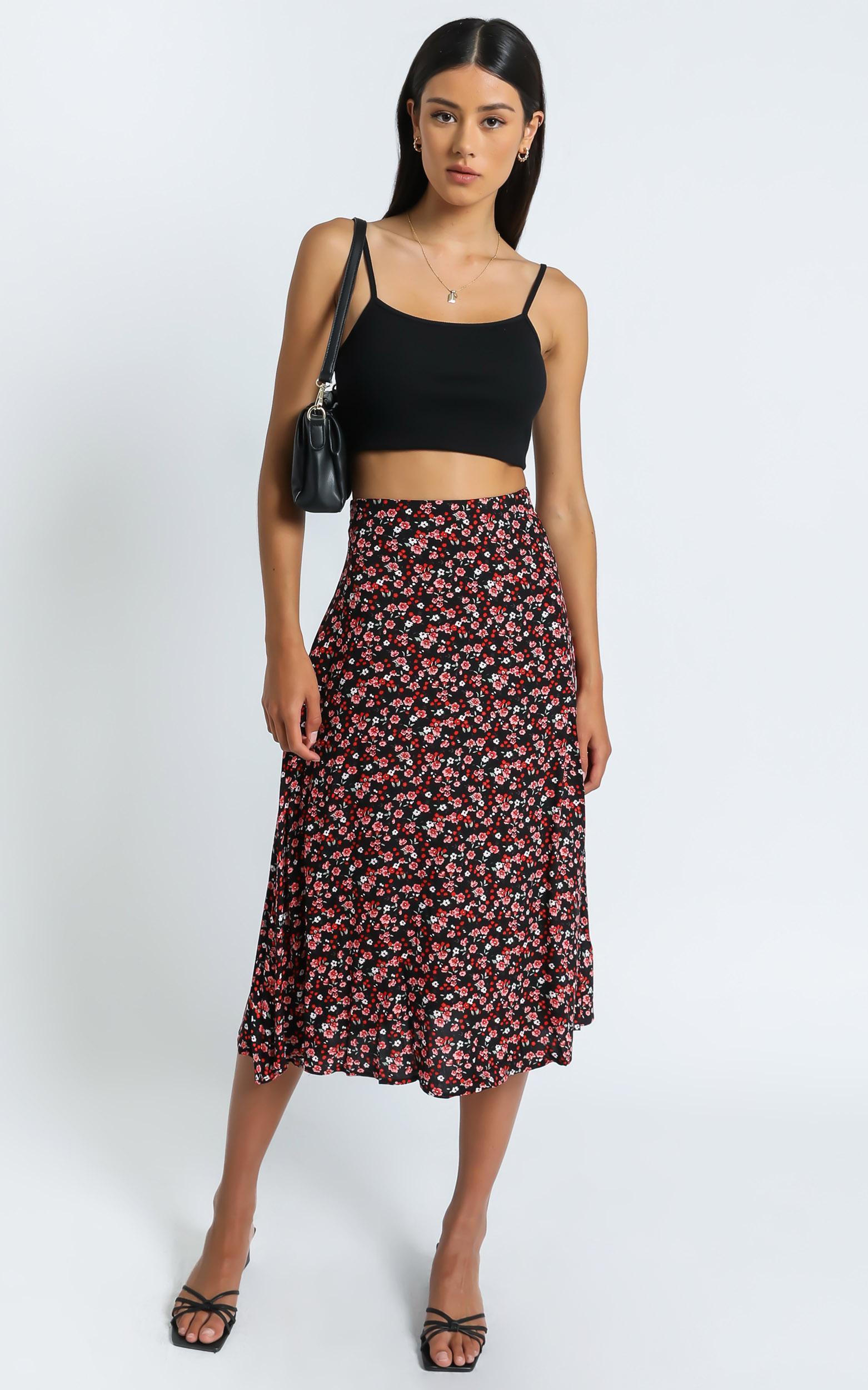 Kourtney Skirt in Black Floral - 6 (XS), Multi, hi-res image number null