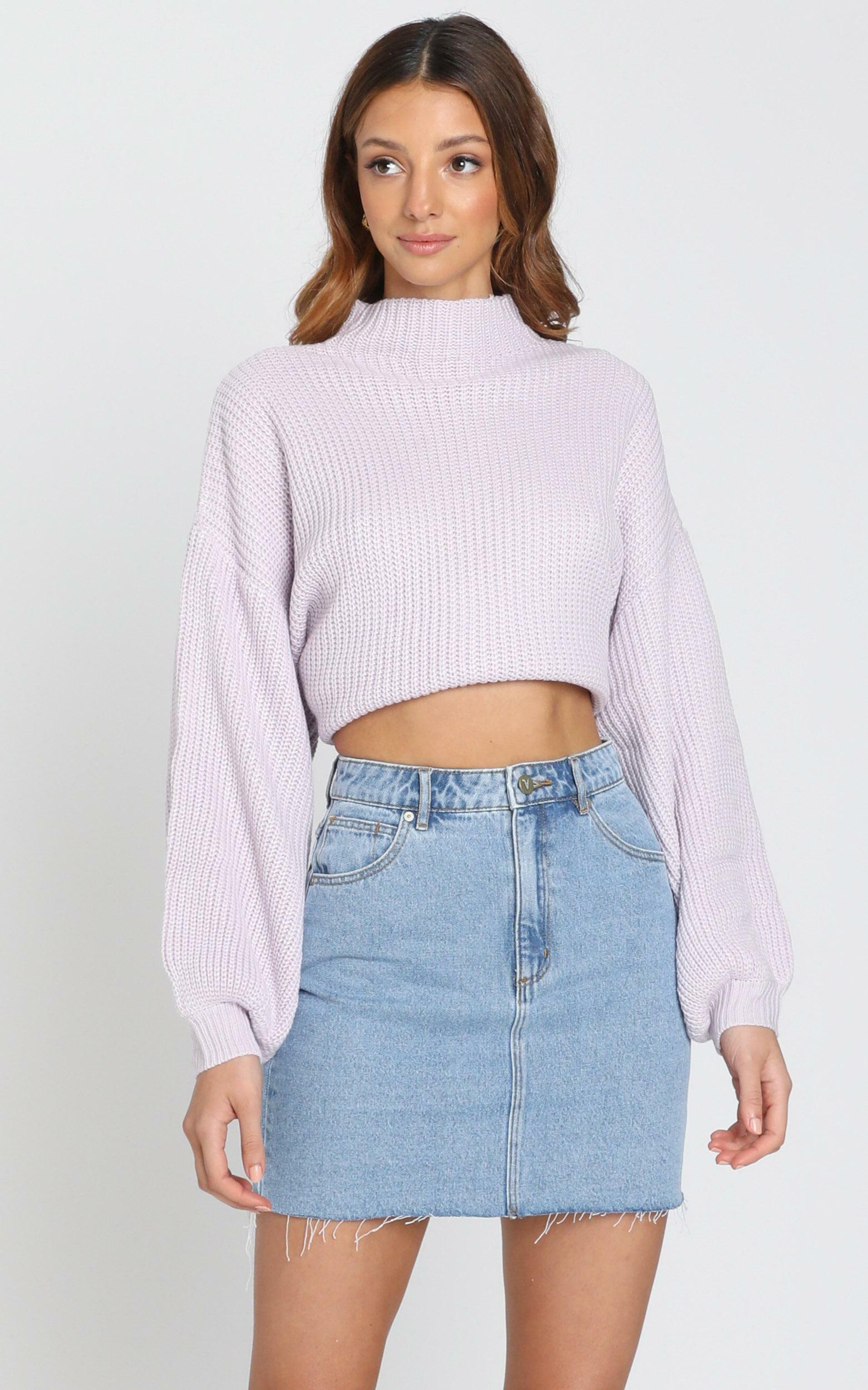 I Feel Love Oversized Knit Jumper in lilac - 8 (S), PRP1, hi-res image number null