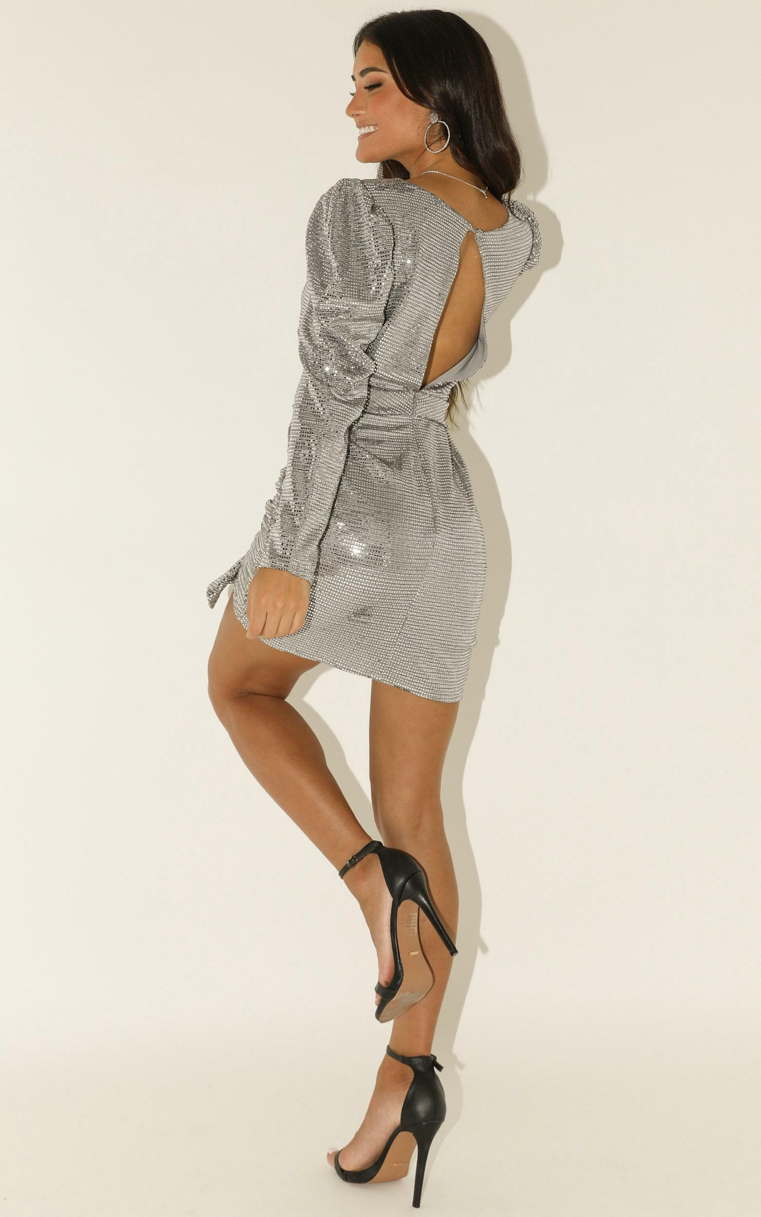 Running Around dress in silver sequin - 12 (L), Silver, hi-res image number null