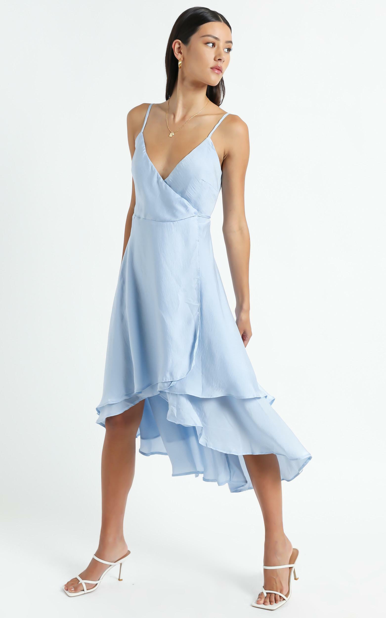 Between Fantasy Dress In Light Blue Satin - 6 (XS), BLU15, hi-res image number null