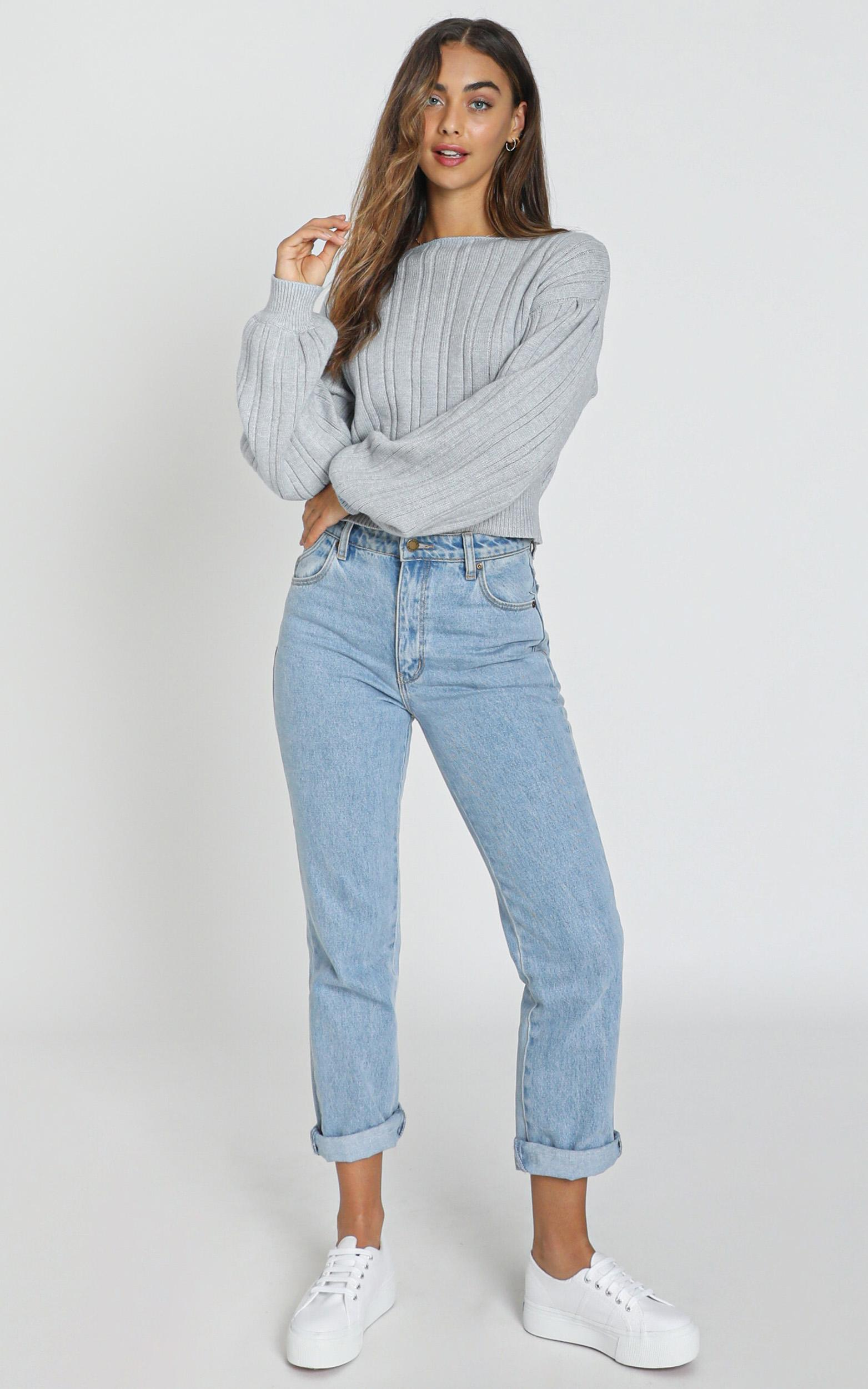 Kitty Blouson Sleeve Knit in steel blue - S/M, Blue, hi-res image number null