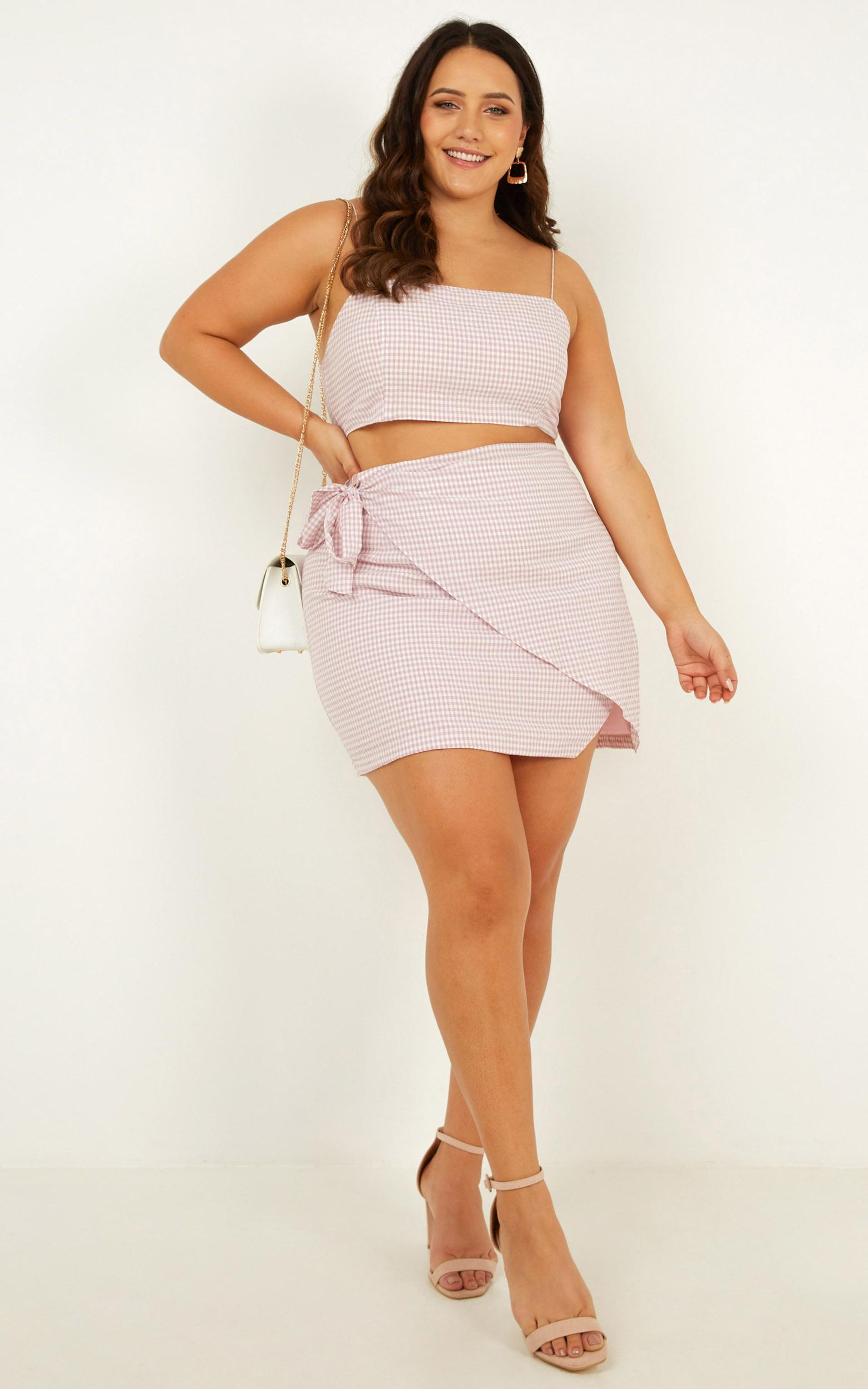 Keep On Turning Two Piece Set in pink gingham  - 20 (XXXXL), Pink, hi-res image number null