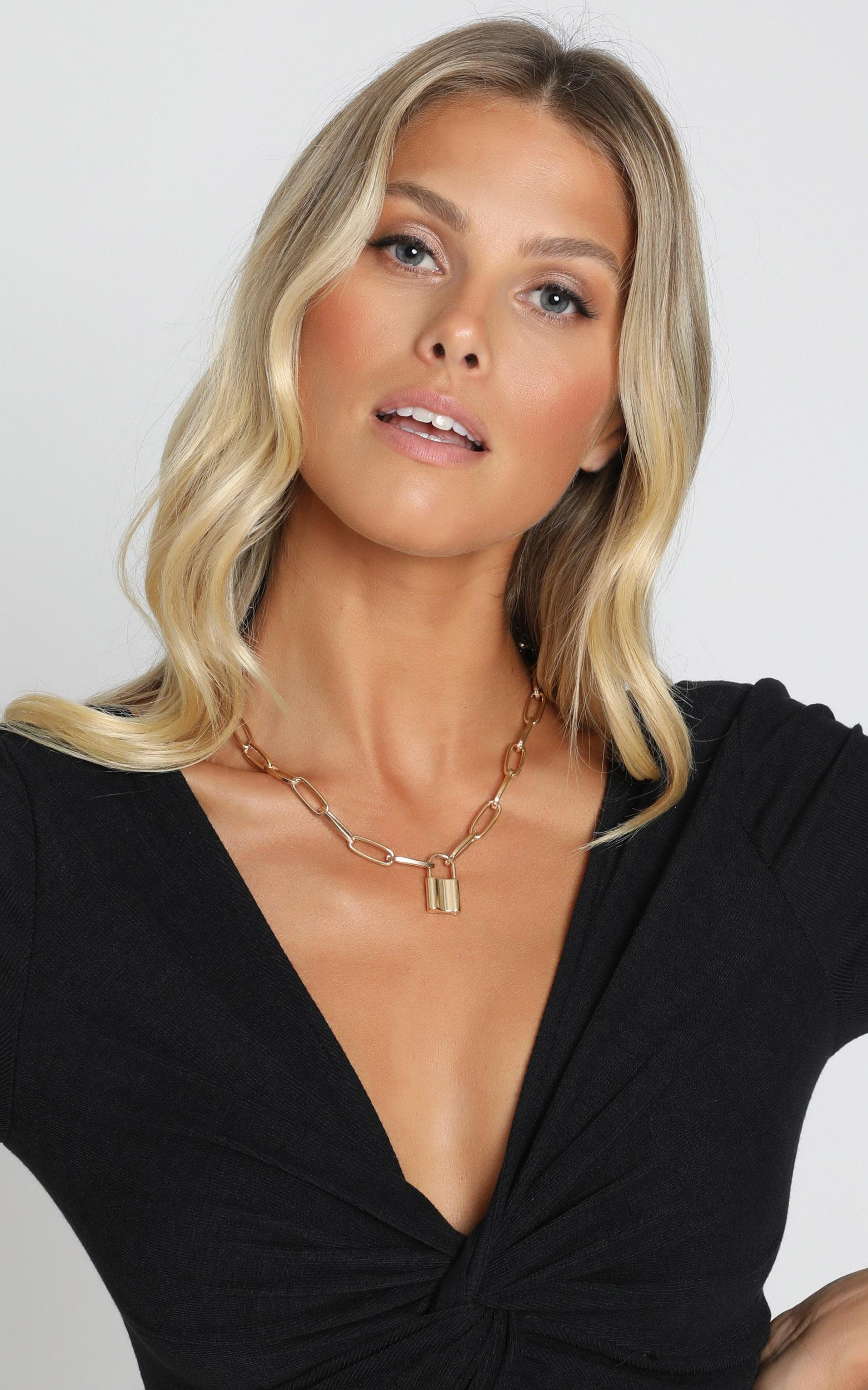 Locked Away Padlock Chain Necklace In Gold, , hi-res image number null
