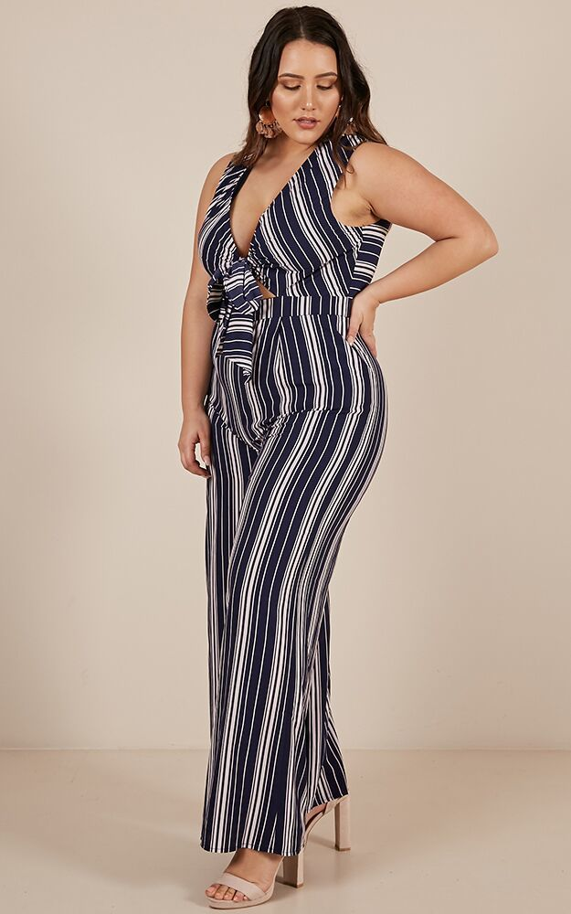 On A High Jumpsuit in navy stripe - 20 (XXXXL), Navy, hi-res image number null