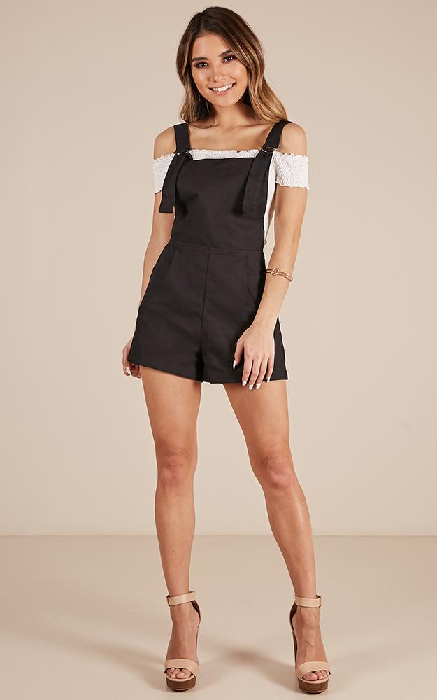 Just The Way You Are Playsuit in black linen look- 20 (XXXXL), Black, hi-res image number null