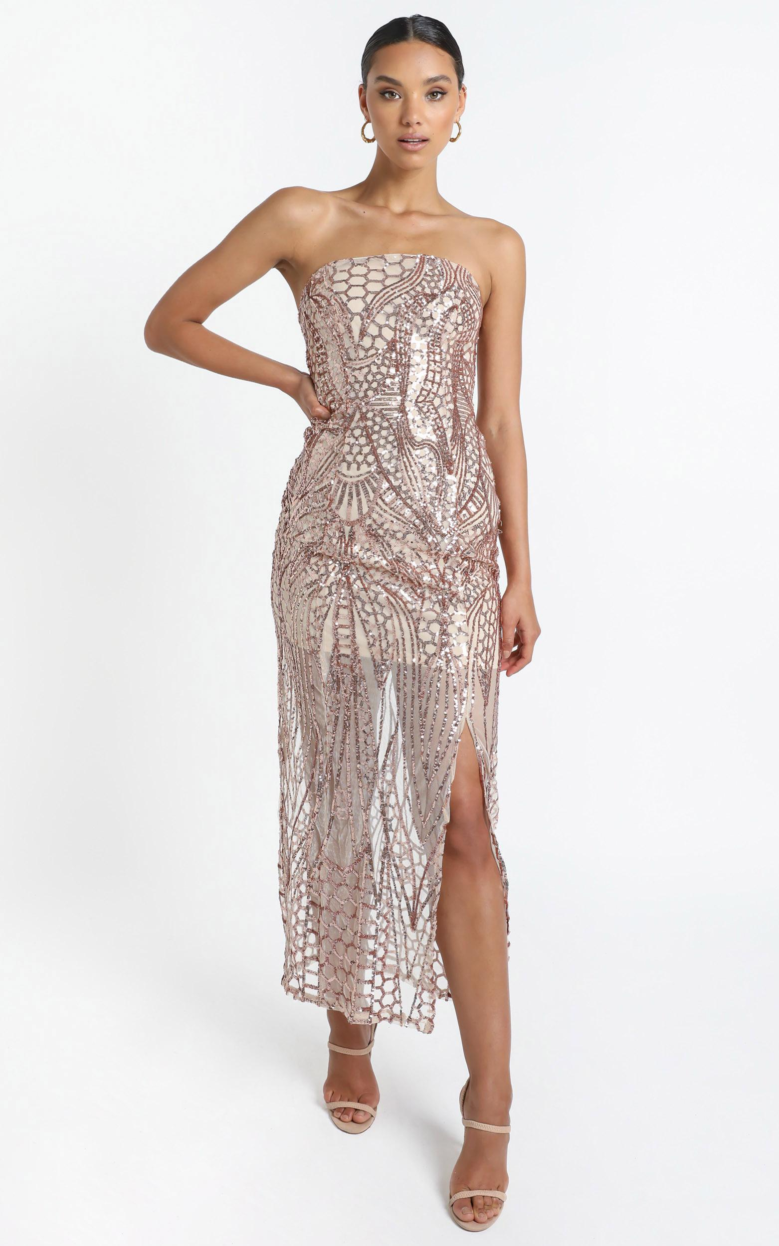 American Hero Maxi Dress In Rose Gold Sequin - 4 (XXS), Rose Gold, hi-res image number null