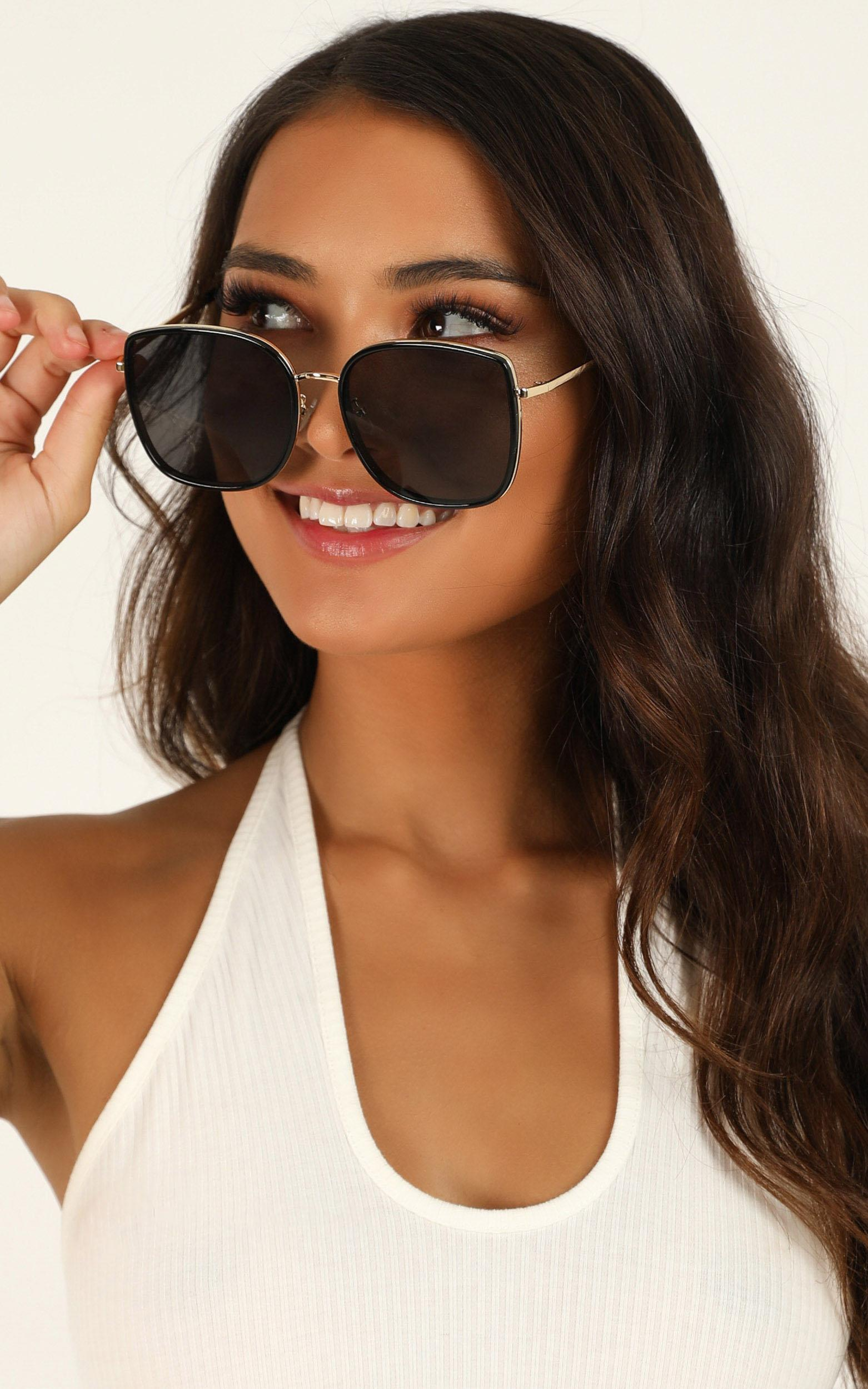 Hear The Sounds Sunglasses In Black And Gold, Black, hi-res image number null