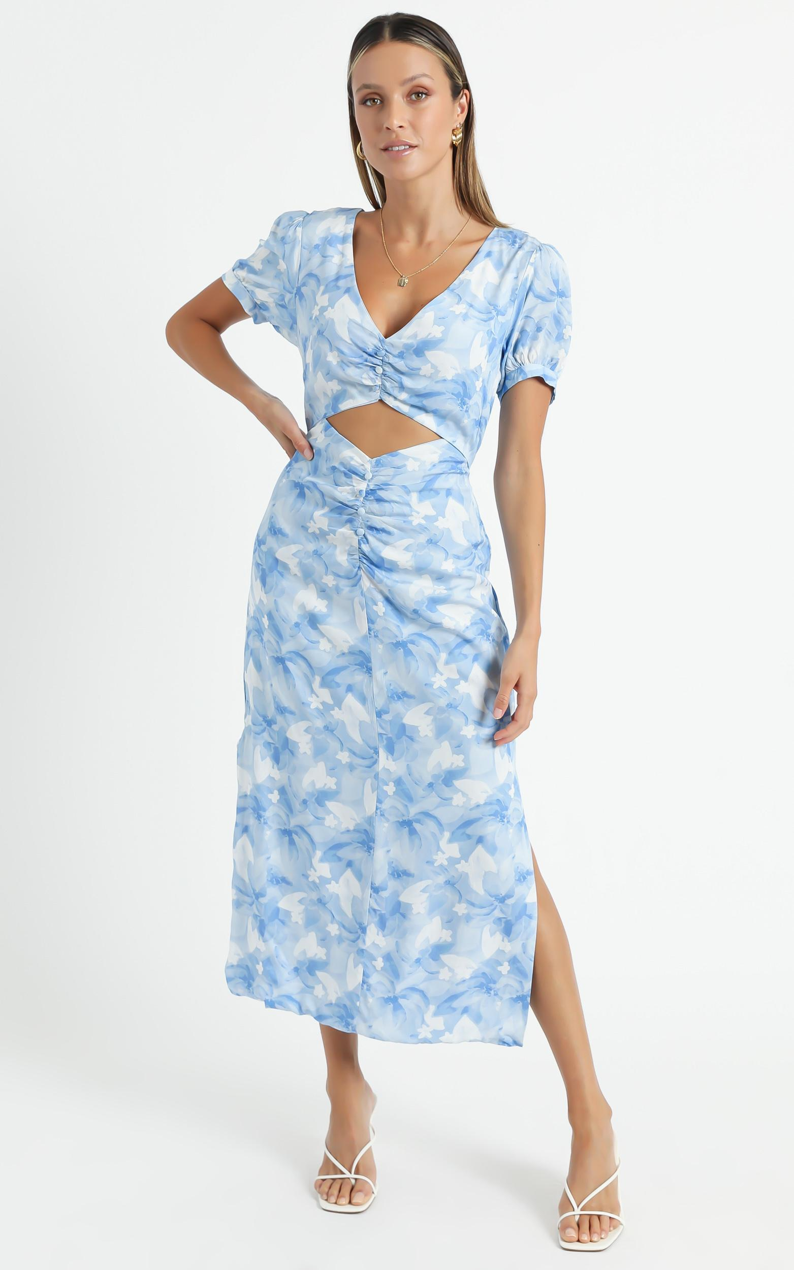 Fraser Dress in Cloudy Floral - 6 (XS), Blue, hi-res image number null