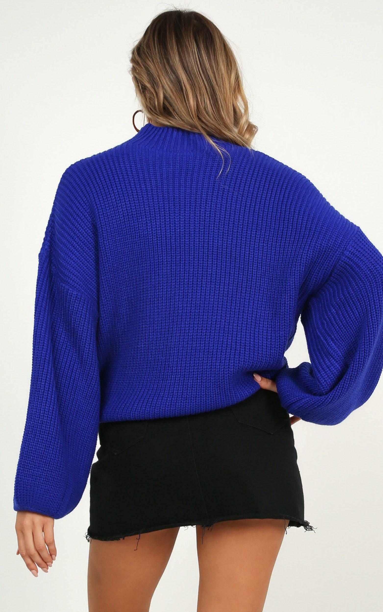 I Feel Love Oversized Knit sweater In cobalt blue - 16 (XXL), Blue, hi-res image number null