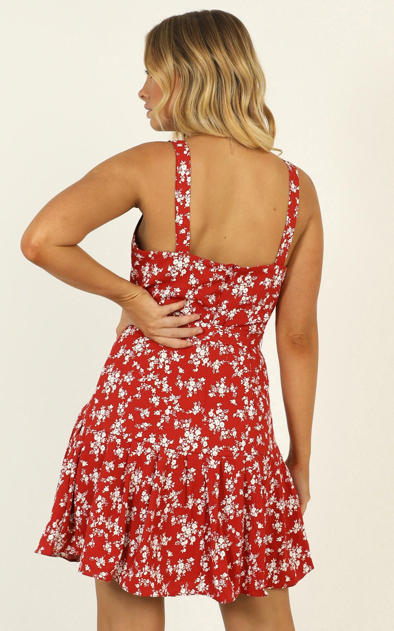 Biggest Comeback dress in red floral - 14 (XL), Red, hi-res image number null