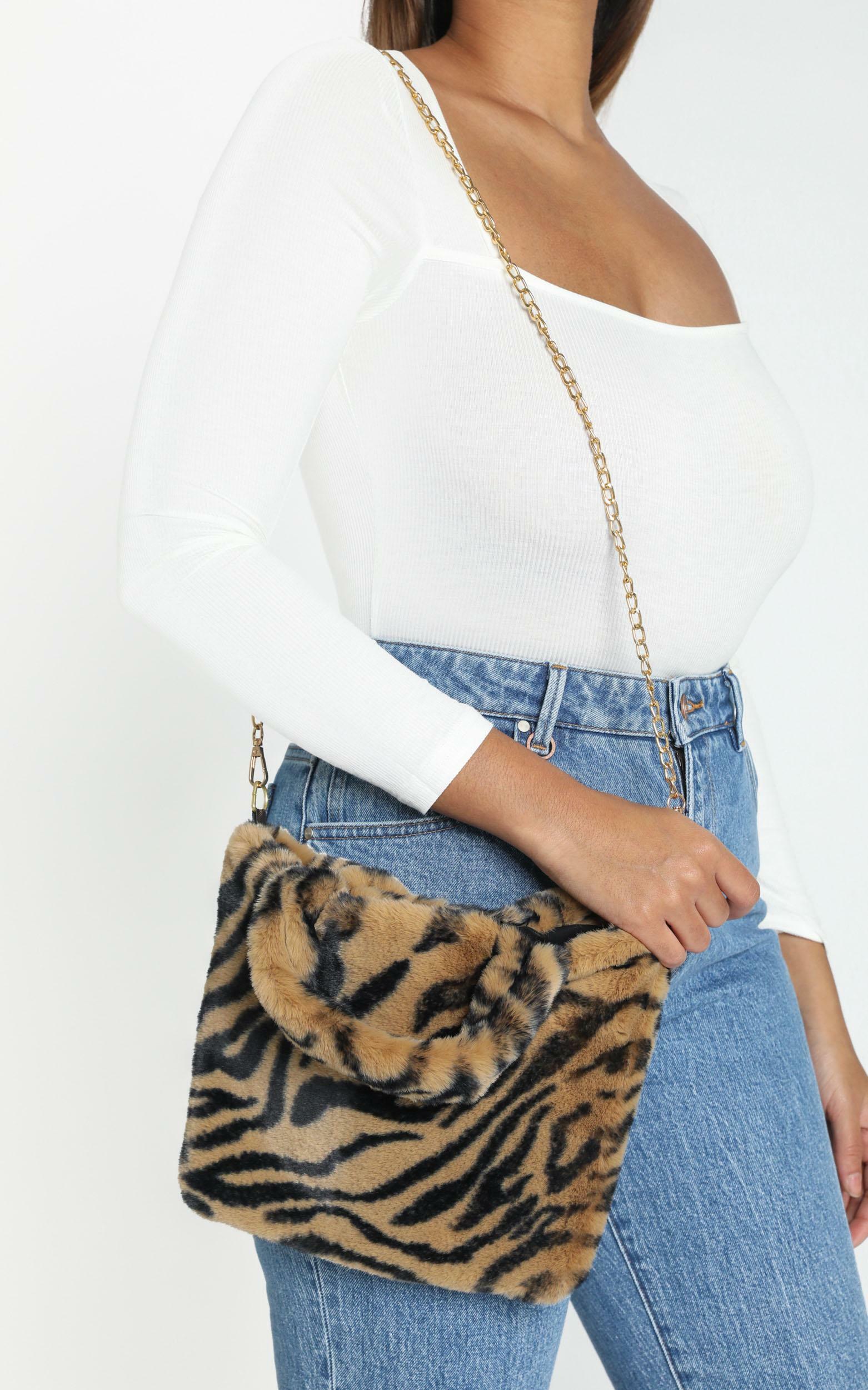 Cool Chic Furry Bag in Tan Zebra, , hi-res image number null