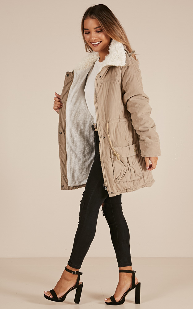 Cosy Corner parka in stone - XL, Beige, hi-res image number null