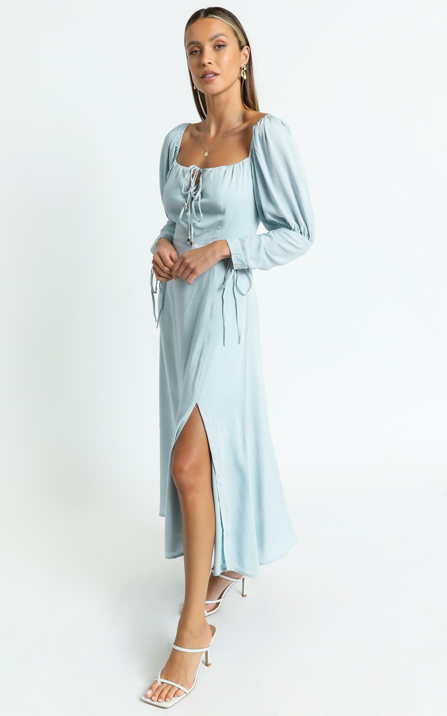 Ansel Dress in Blue Linen Look - 06, BLU1, hi-res image number null