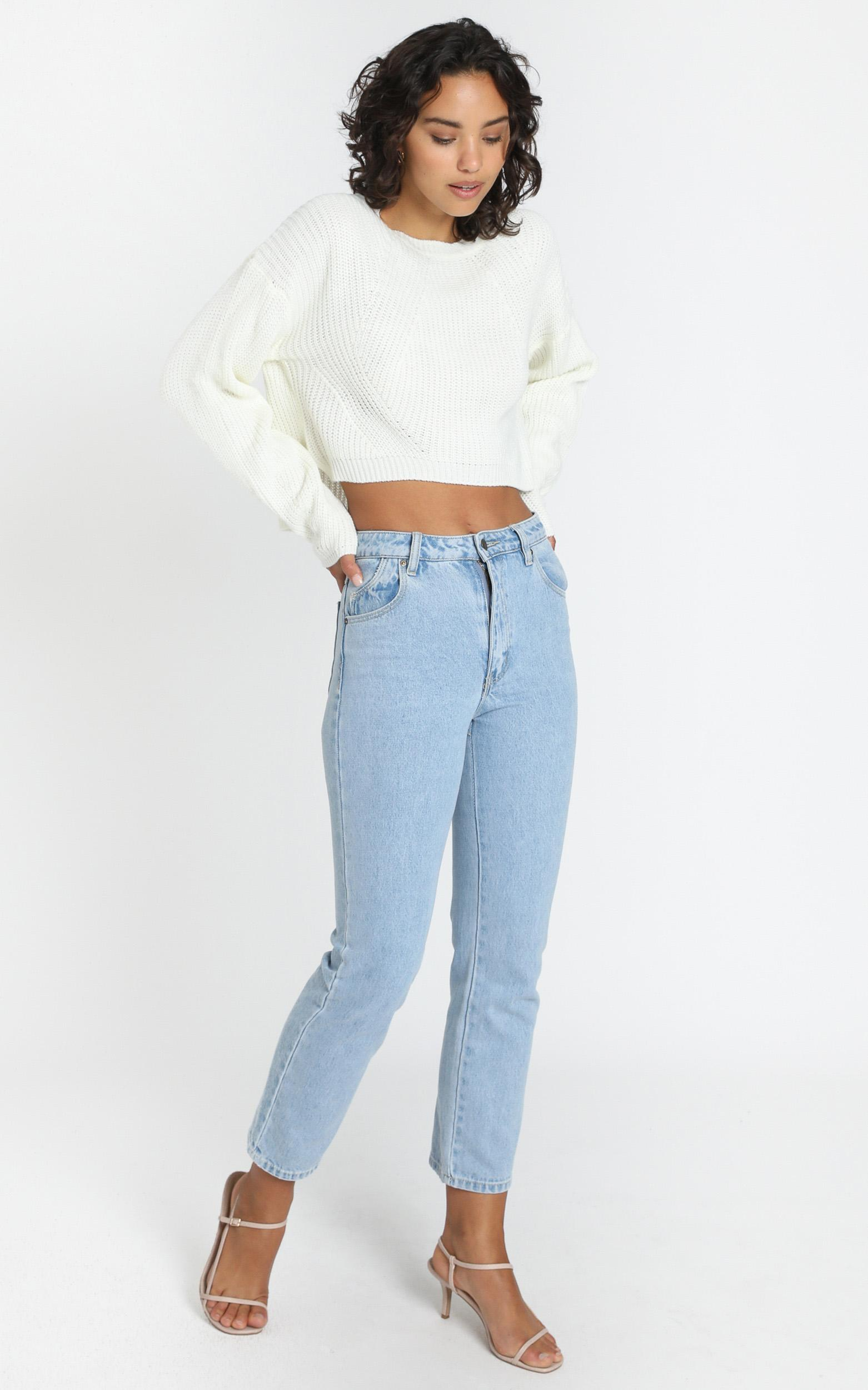 Frankie Cropped Boxy Knit in ivory - S/M, Cream, hi-res image number null