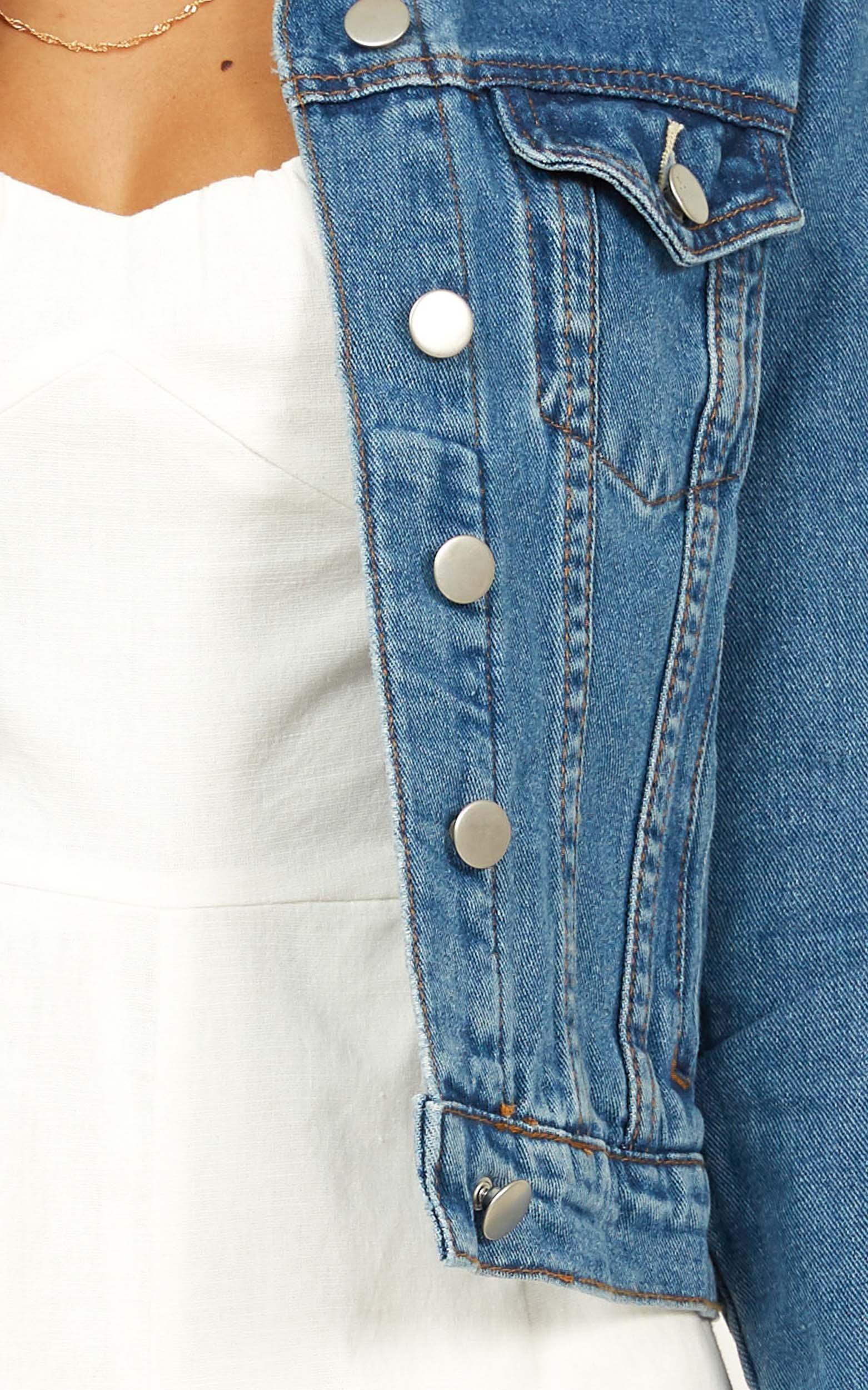 Summer Loving Denim Jacket In mid wash - 20 (XXXXL), Blue, hi-res image number null