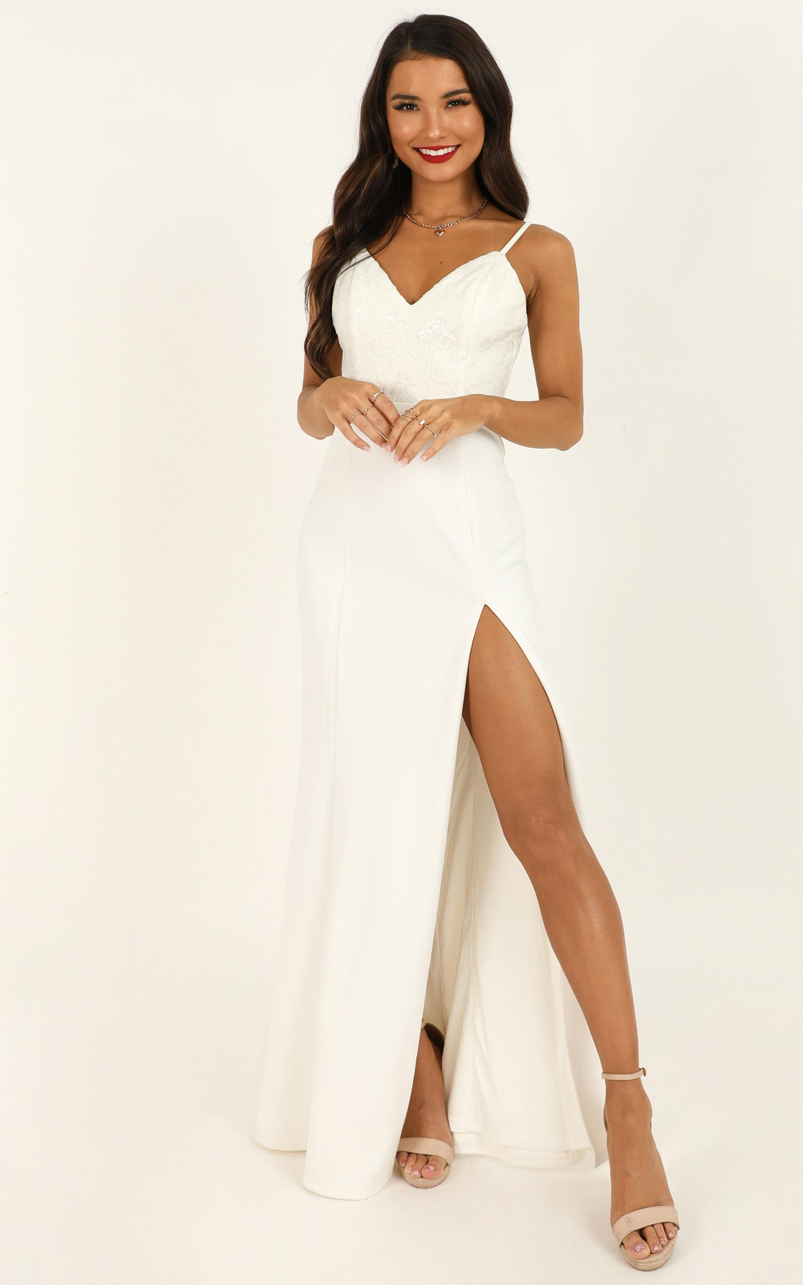 Cant Break Us Dress in white sequin - 20 (XXXXL), White, hi-res image number null