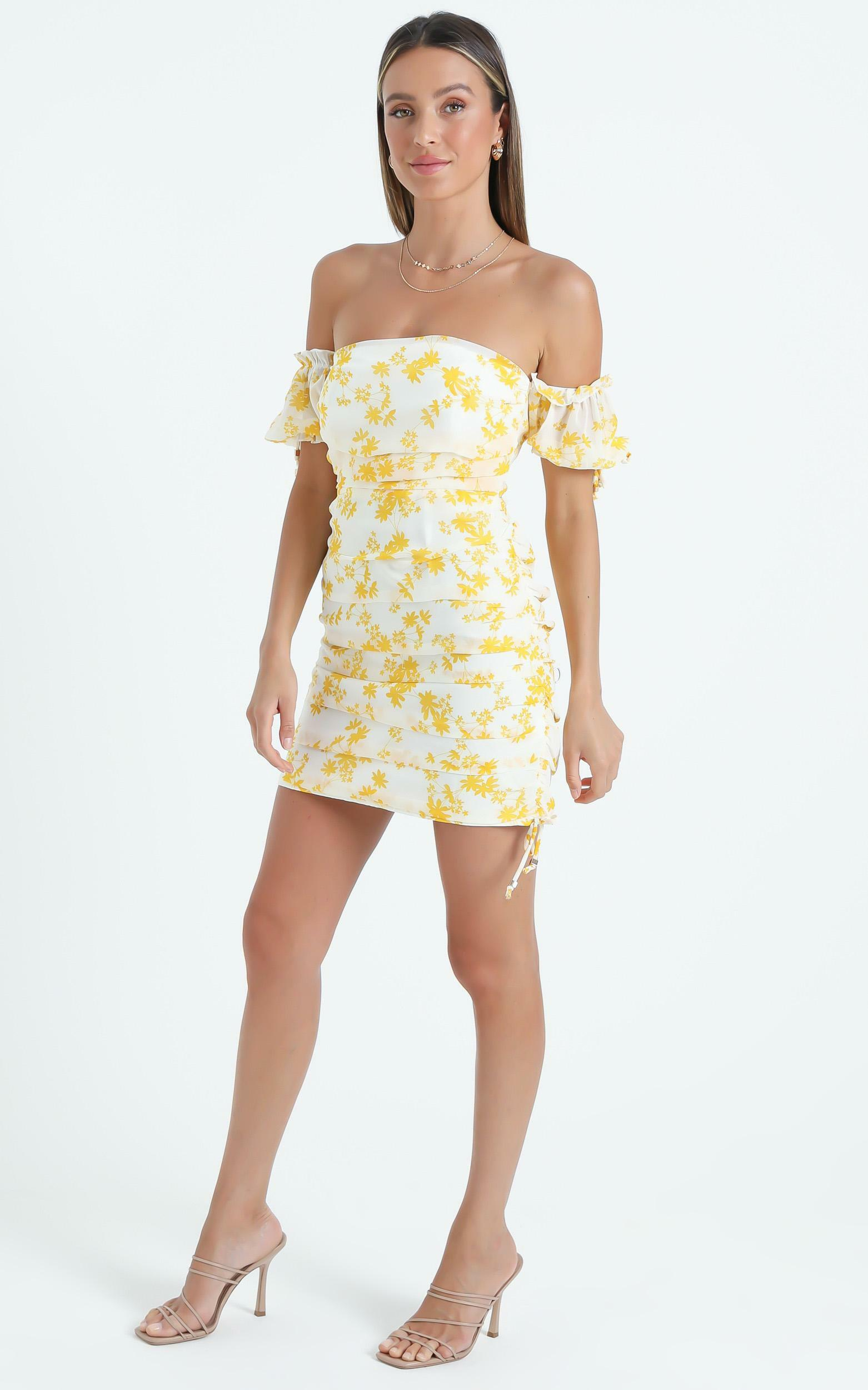 Cant Get You Off My Mind Off The Shoulder Mini Dress in Yellow - 04, YEL2, hi-res image number null