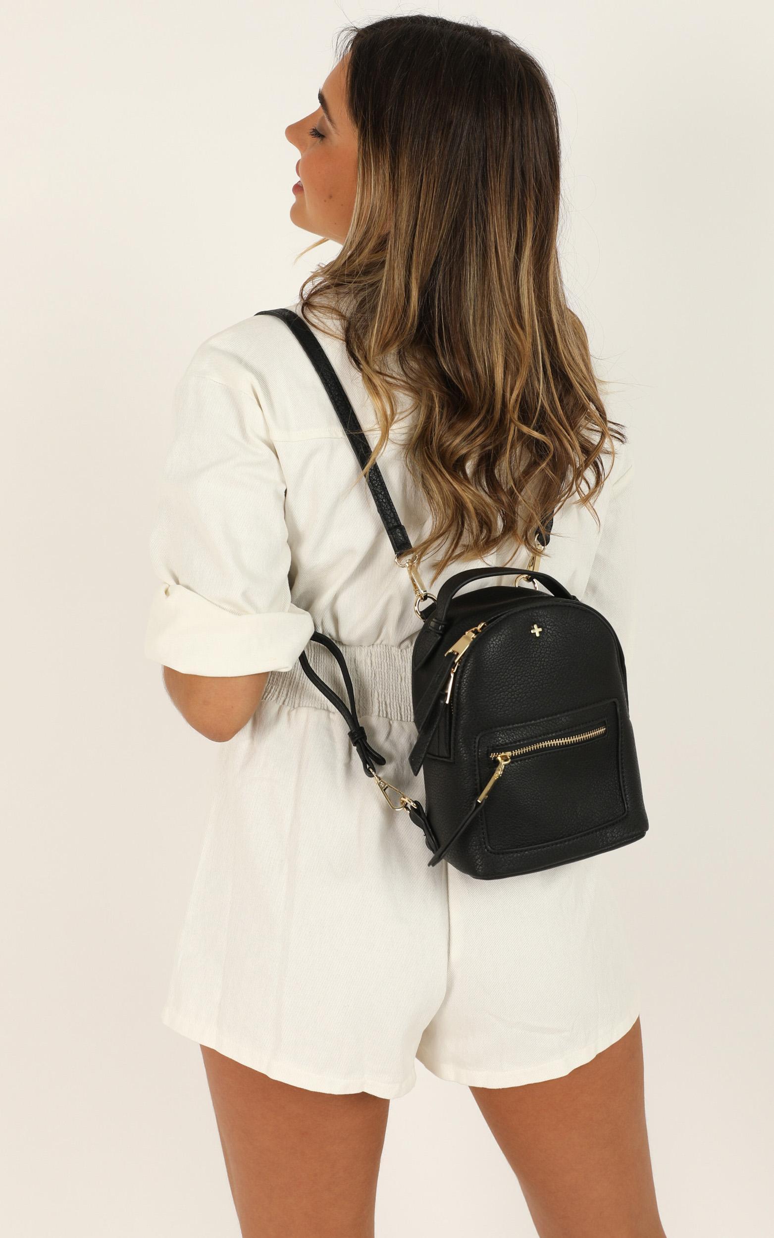 Peta and Jain - Zoe Mini Backpack In Black Pu, Black, hi-res image number null