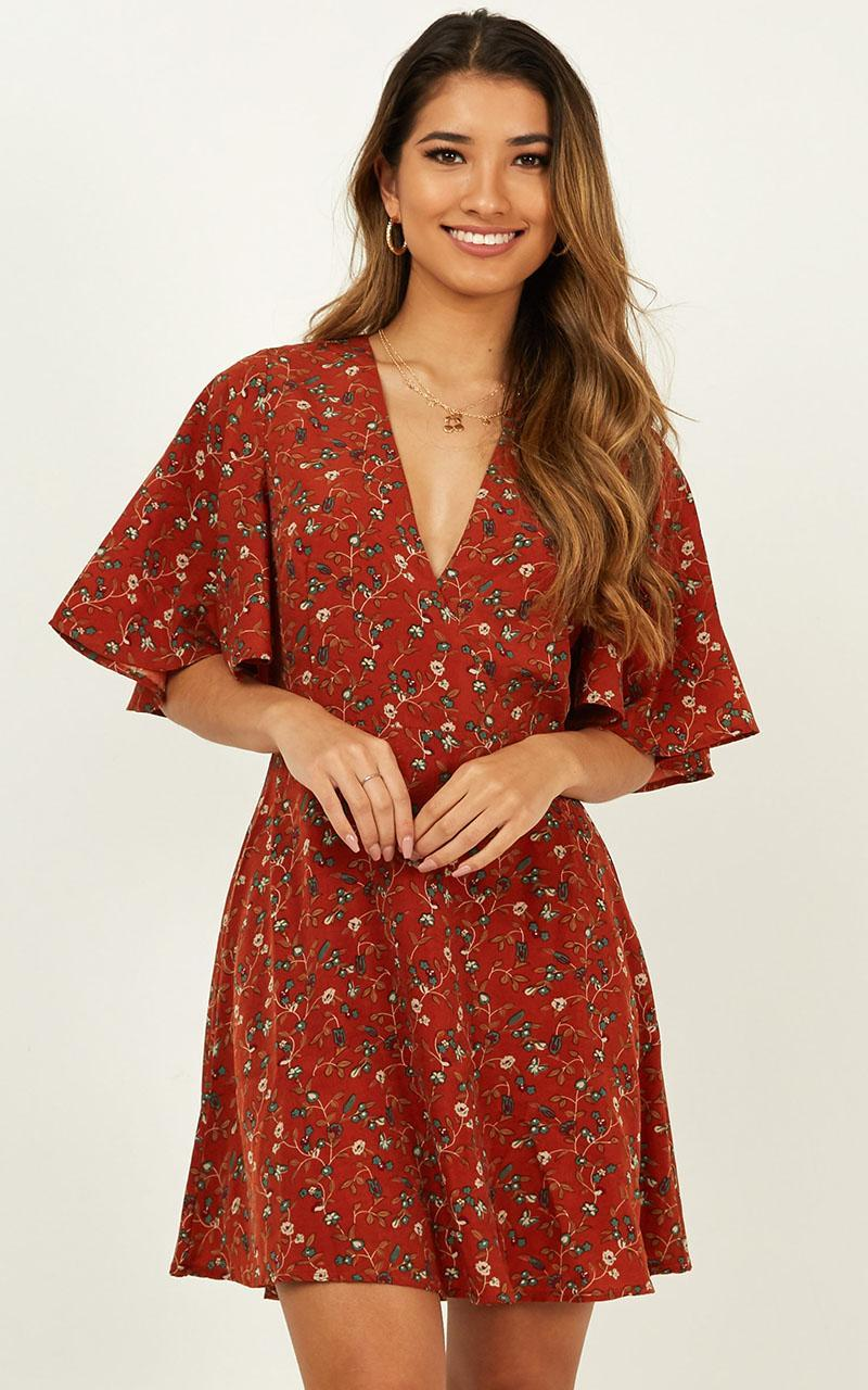 Beginners Luck Dress in rust floral - 16 (XXL), Rust, hi-res image number null