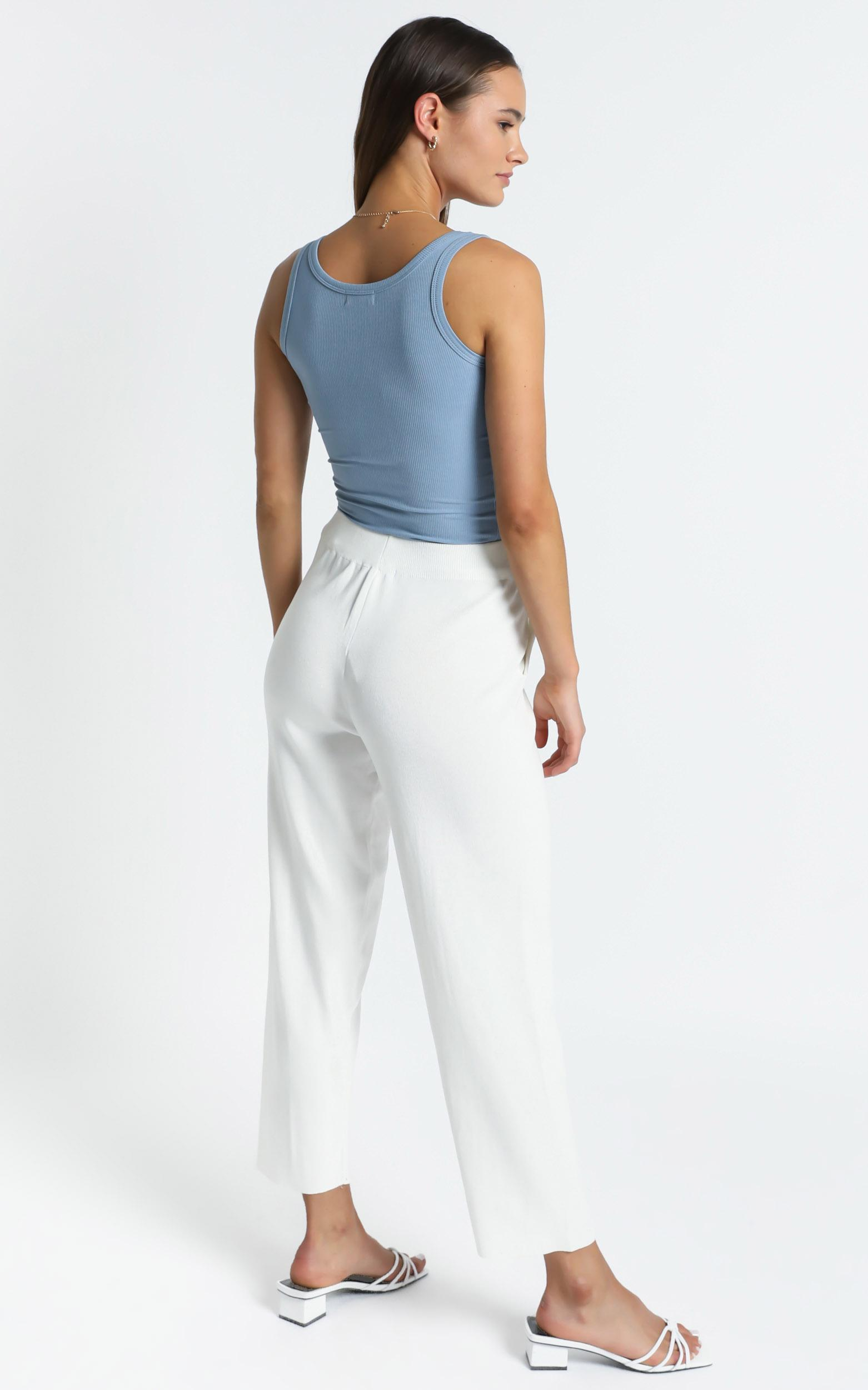 Bertie Knit Pants in White, White, hi-res image number null