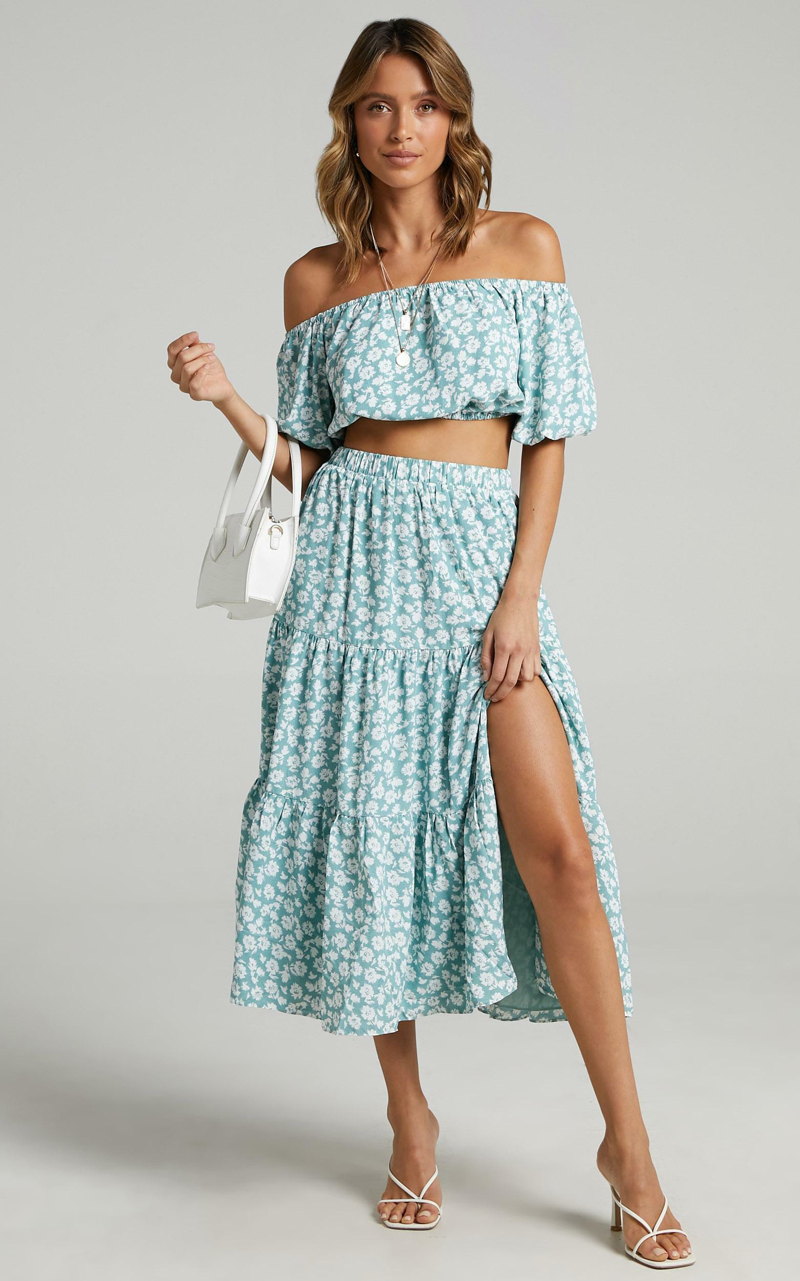 Distant Memory Two Piece Set in Sage Floral - 20, GRN1, hi-res image number null