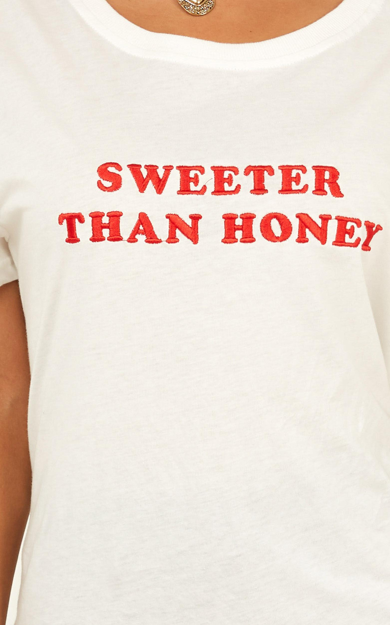 Sweeter Than Honey tee in white - 14 (XL), White, hi-res image number null