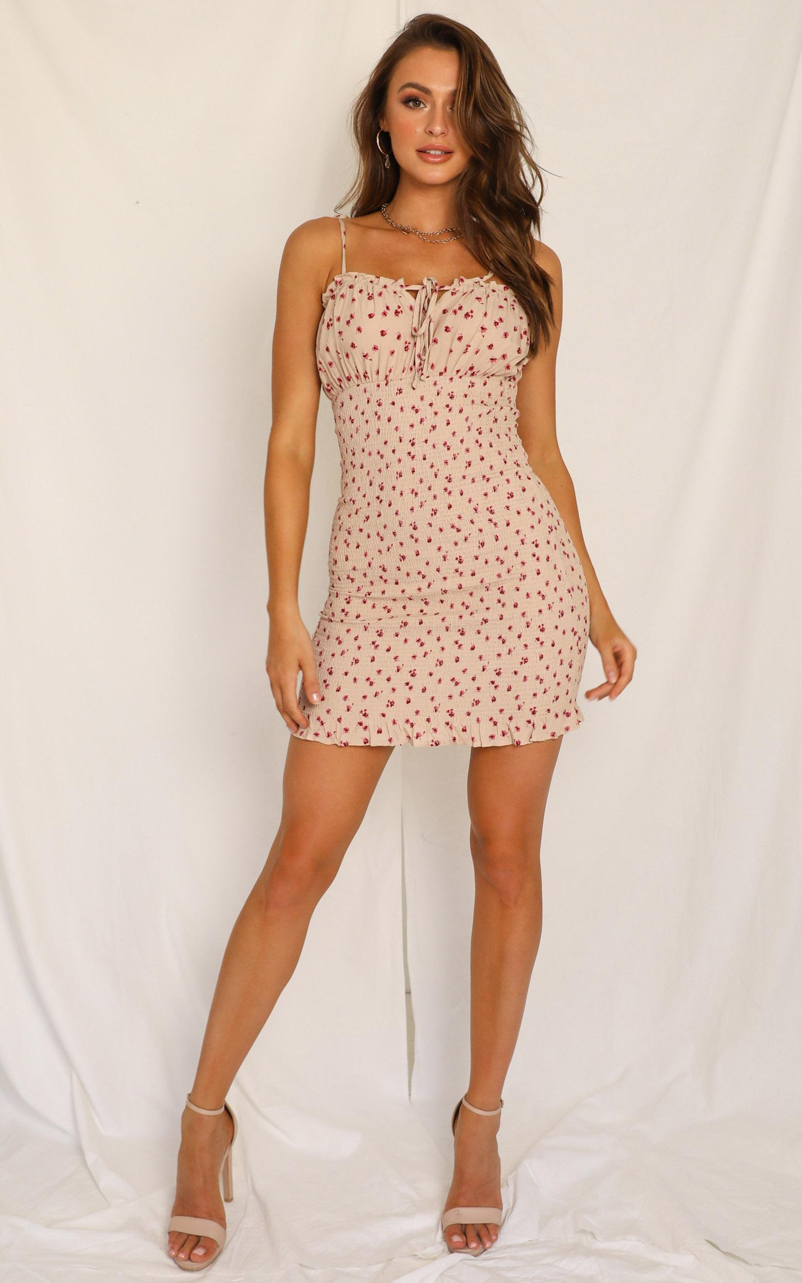 Must Be Right dress in cream floral - 12 (L), Cream, hi-res image number null